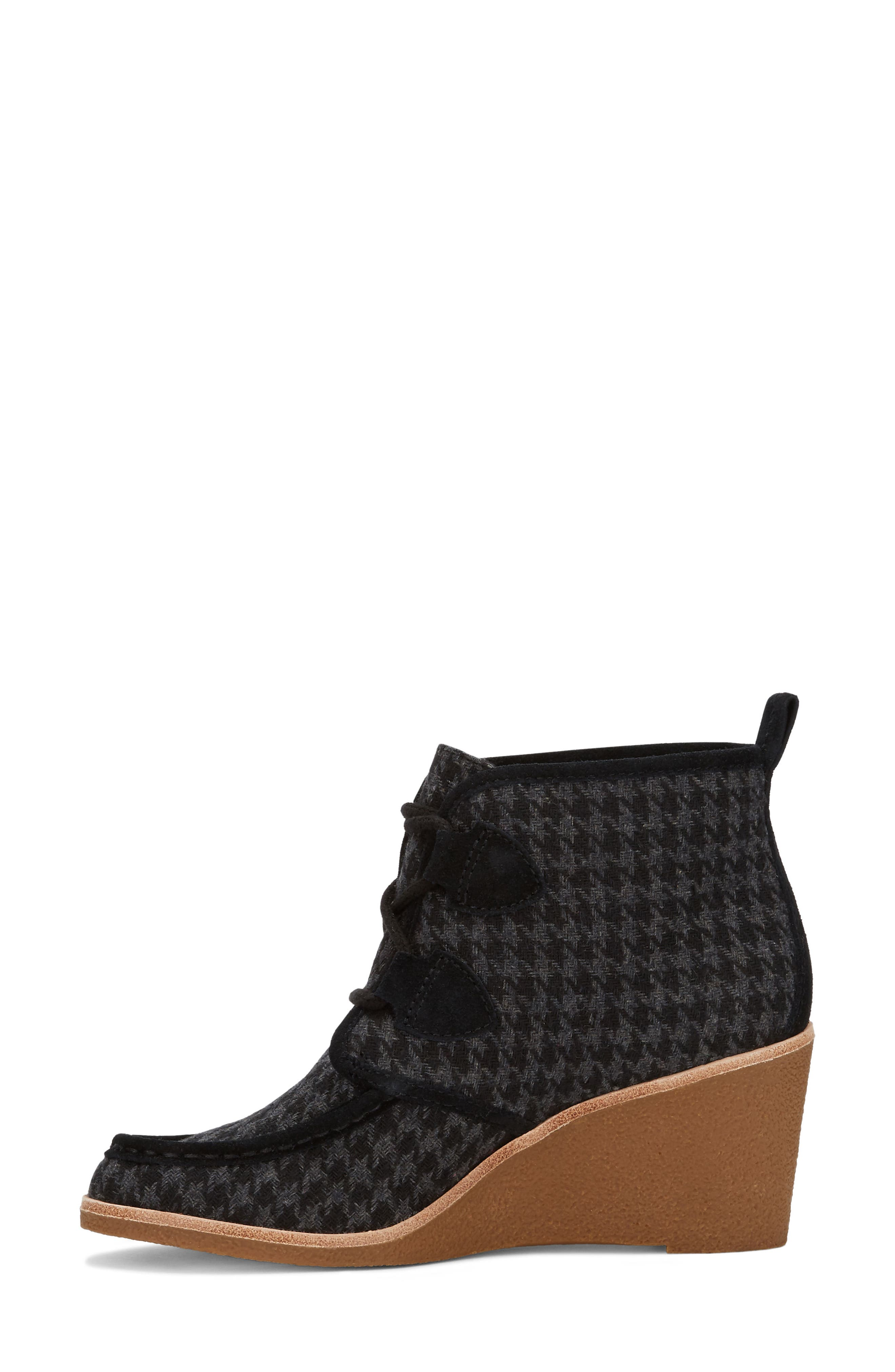 Rosa Wedge Bootie,                             Alternate thumbnail 2, color,                             Black Houndstooth Fabric