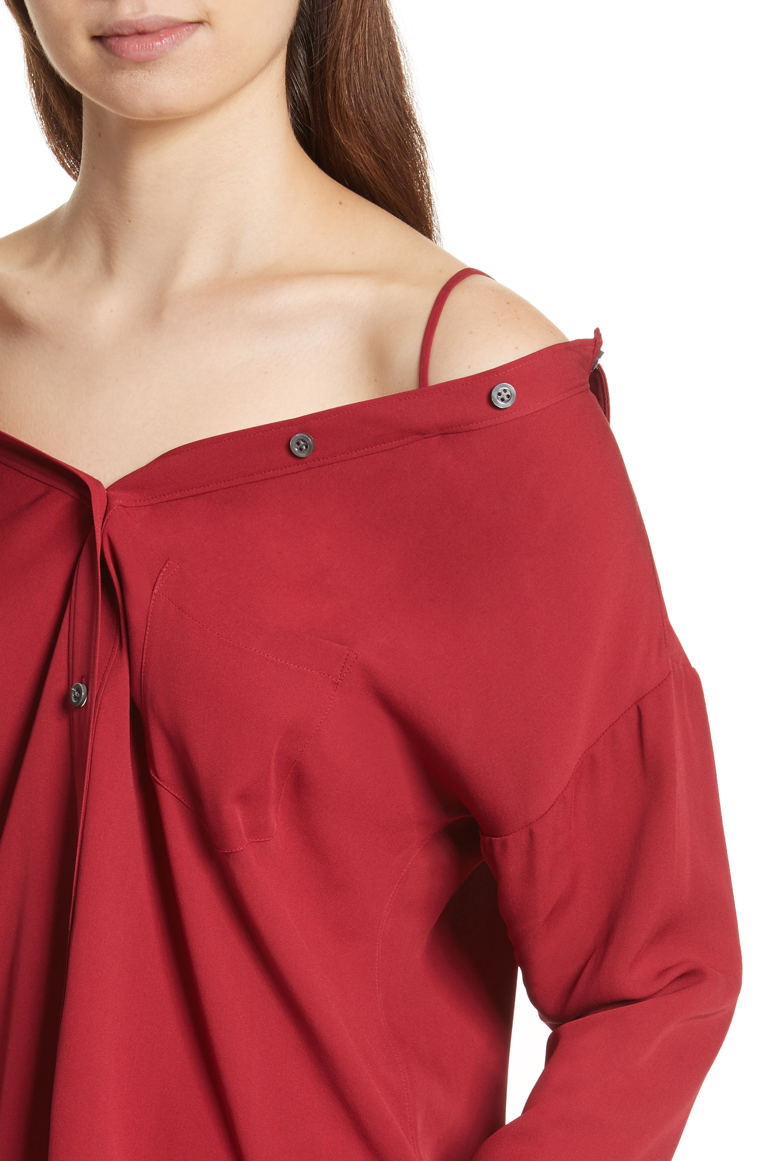 Tamalee Silk Shirt,                             Alternate thumbnail 4, color,                             Bright Raspberry