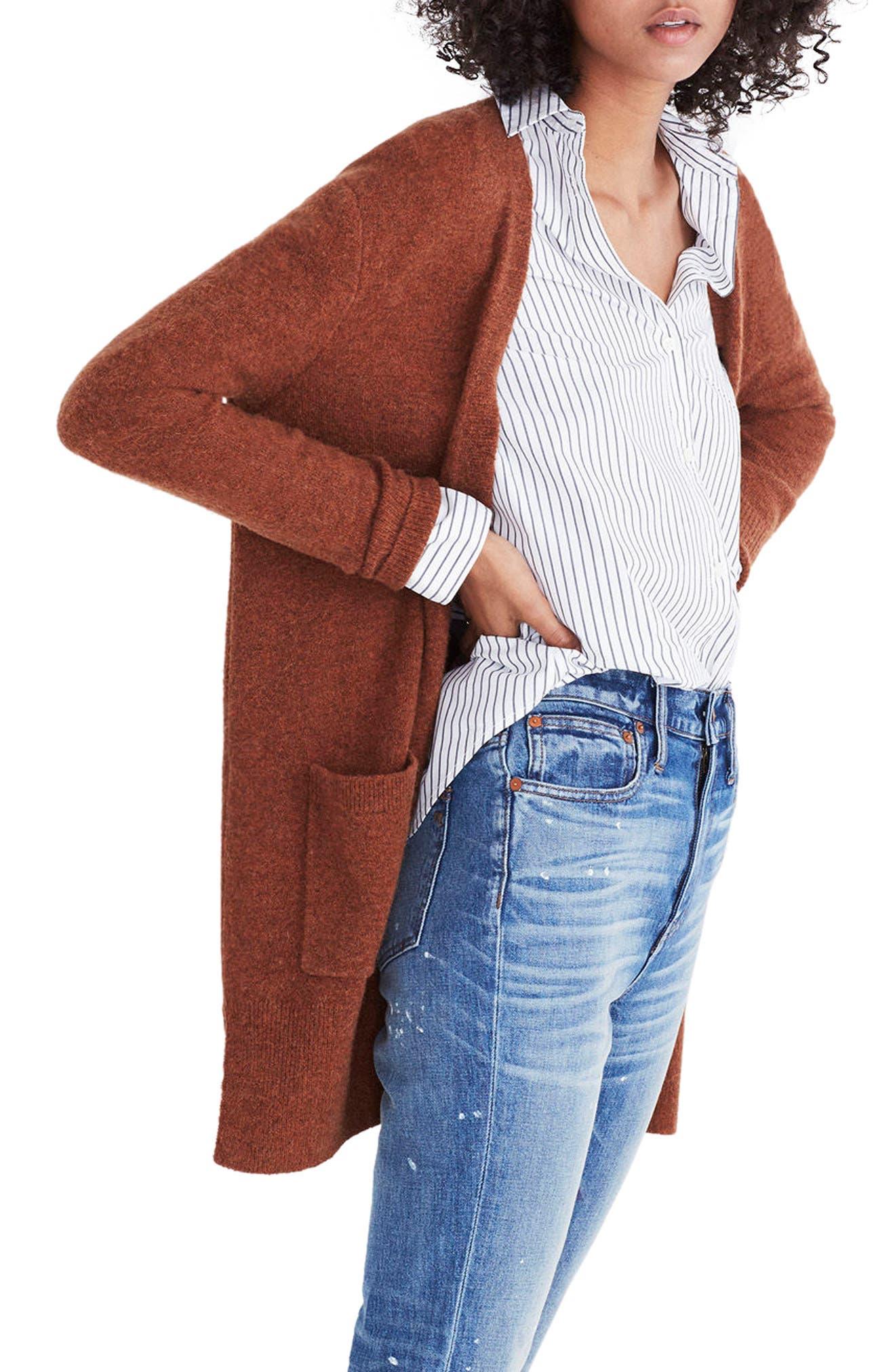 Kent Cardigan Sweater,                             Alternate thumbnail 3, color,                             Heather Clay