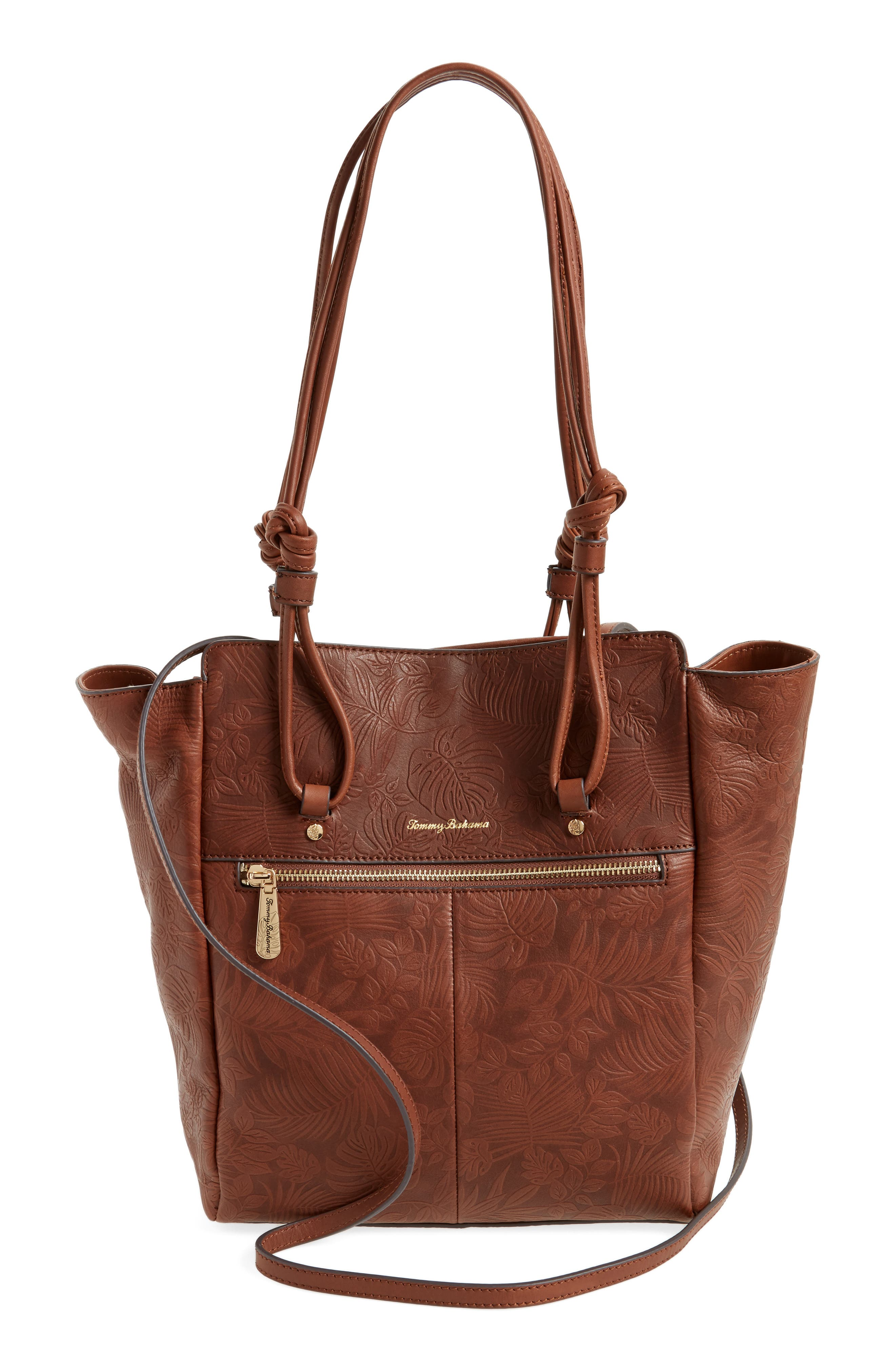 Embossed Leather Tote,                             Alternate thumbnail 2, color,                             Chestnut