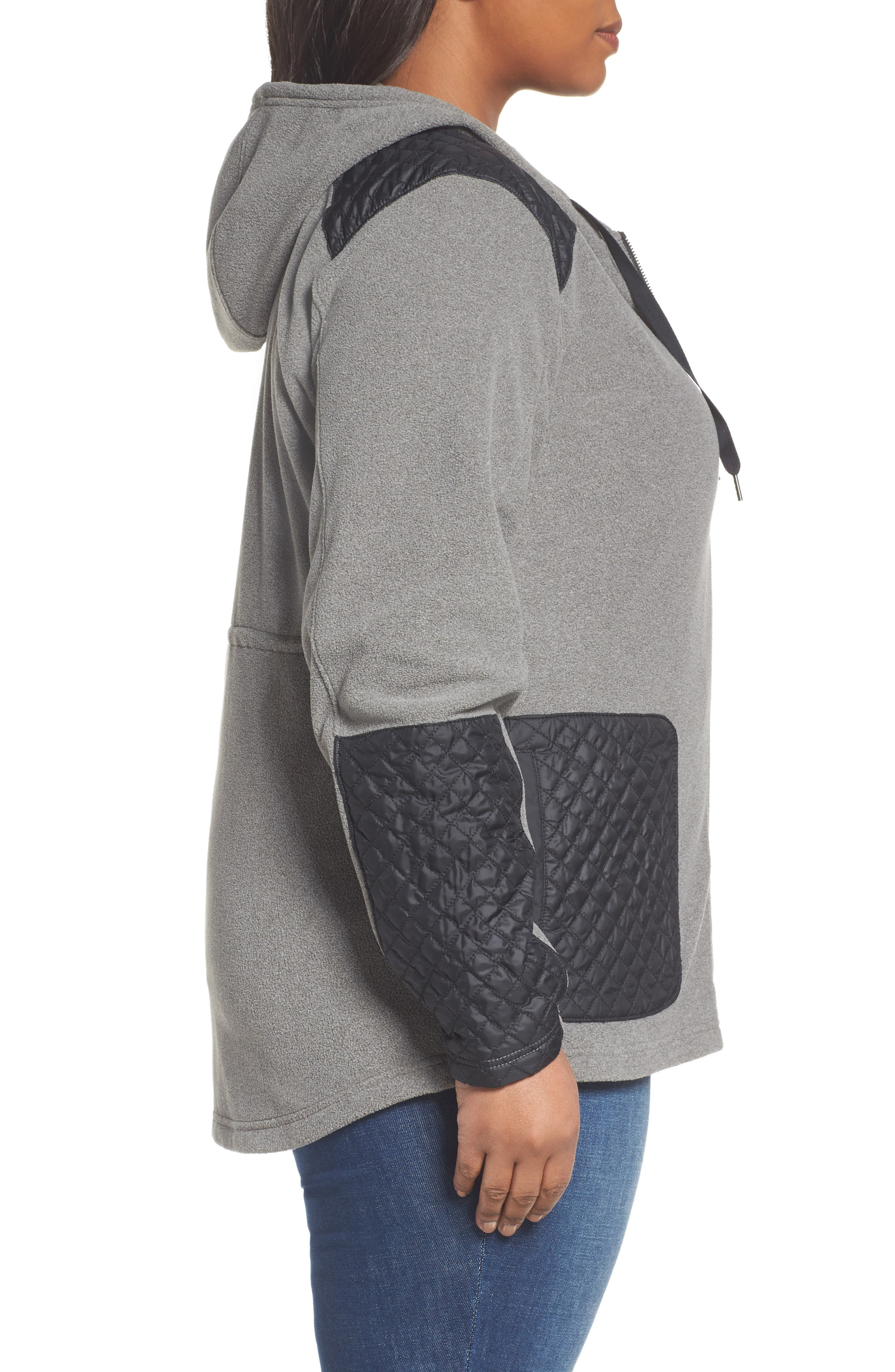 Warm Up Hooded Fleece Jacket,                             Alternate thumbnail 3, color,                             Charcoal Heather