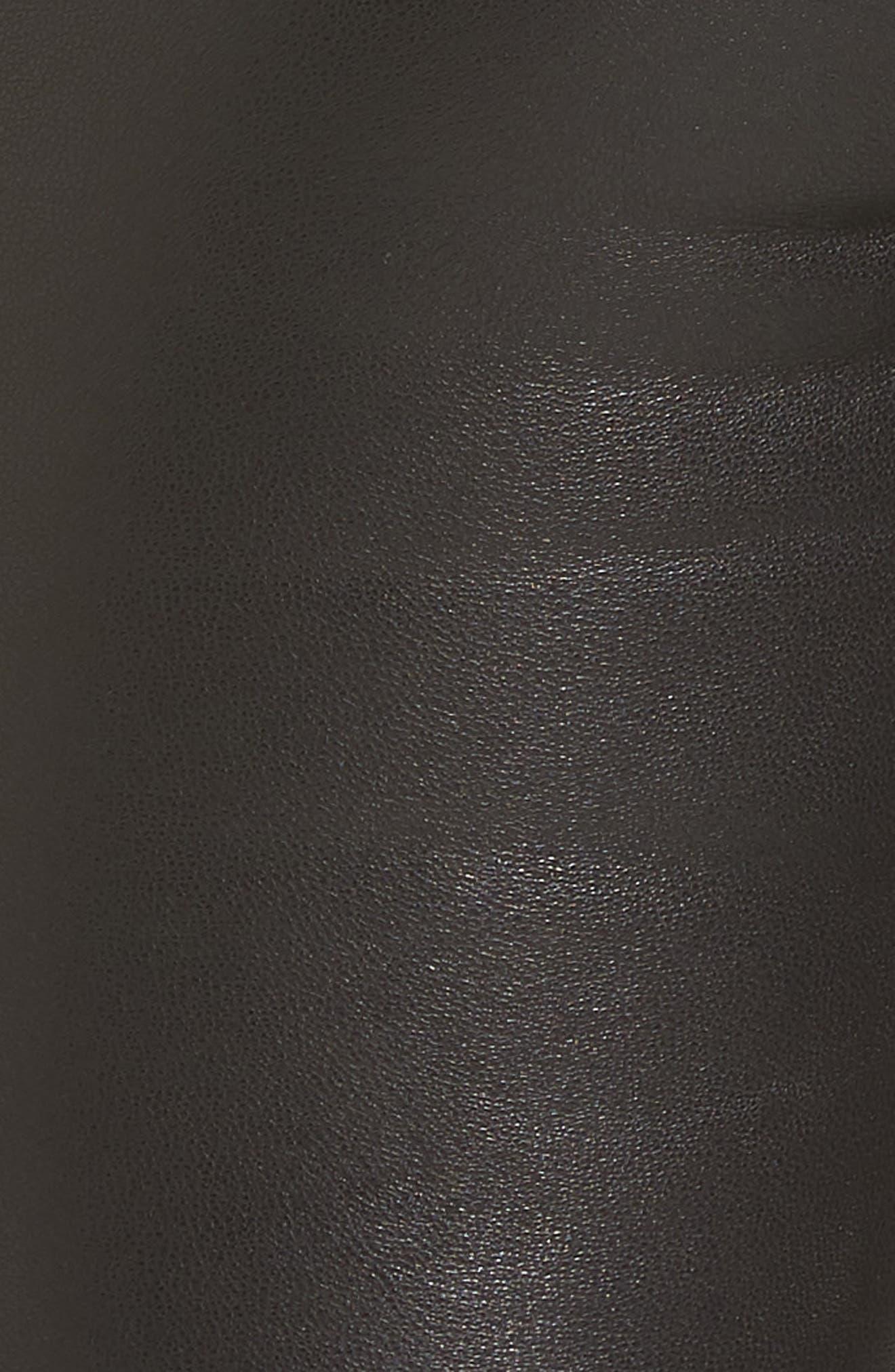 Barbara High Waist Ankle Skinny Leather Pants,                             Alternate thumbnail 5, color,                             Black Leather