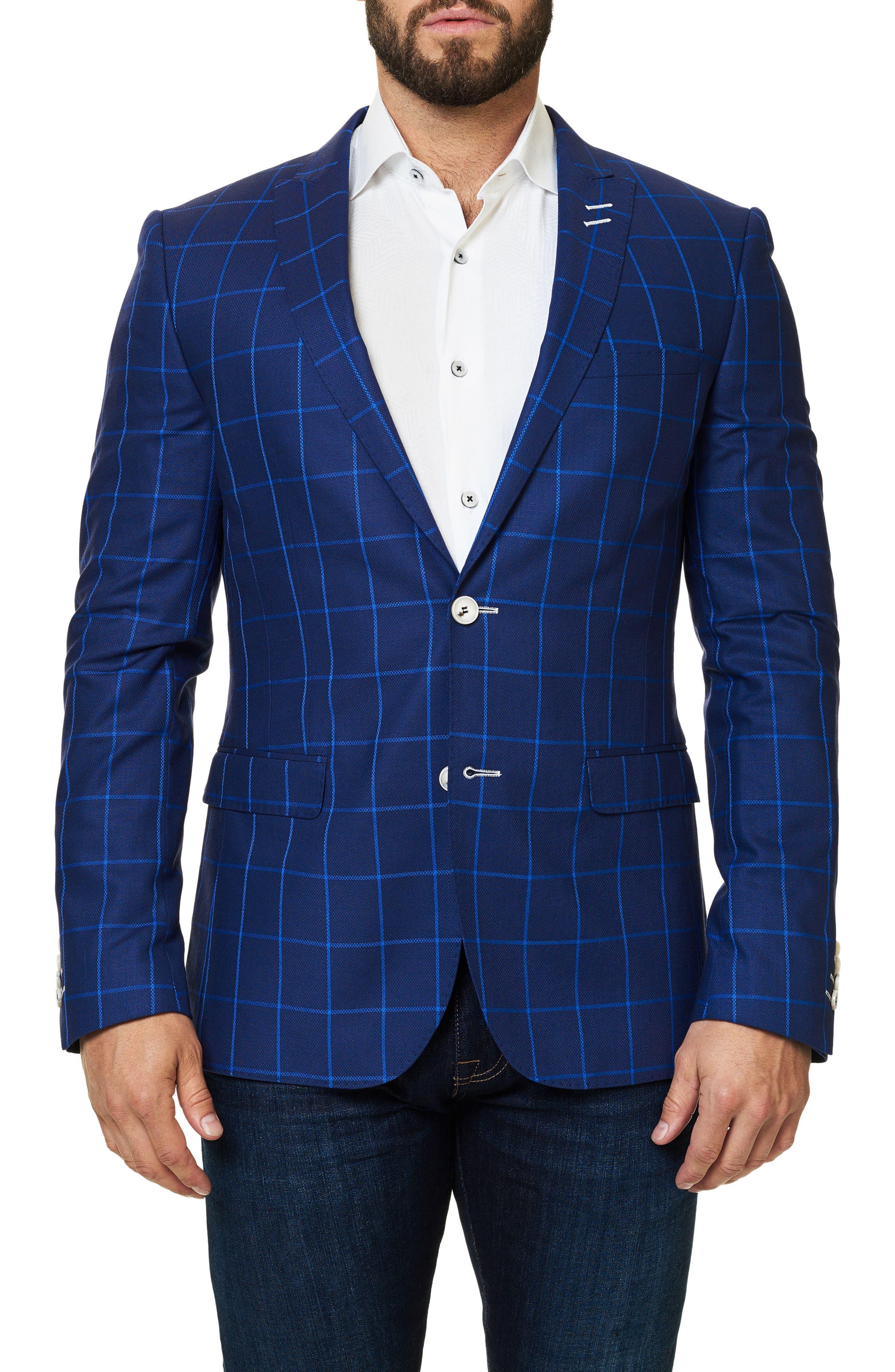 Descarte Windowpane Sport Coat,                             Main thumbnail 1, color,                             Medium Blue