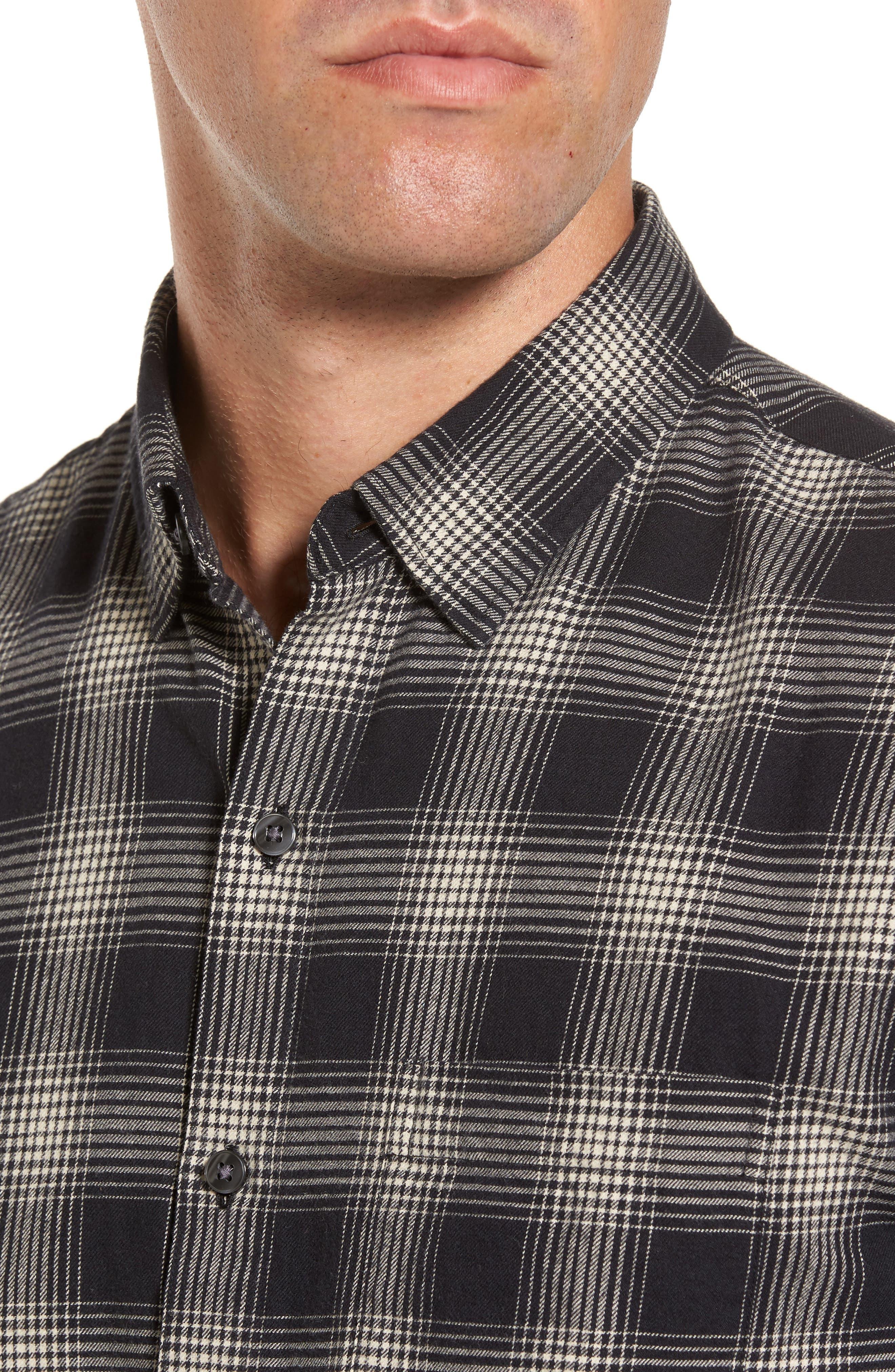 Slim Fit Plaid Brushed Twill Sport Shirt,                             Alternate thumbnail 4, color,                             Black/ Brown Plaid