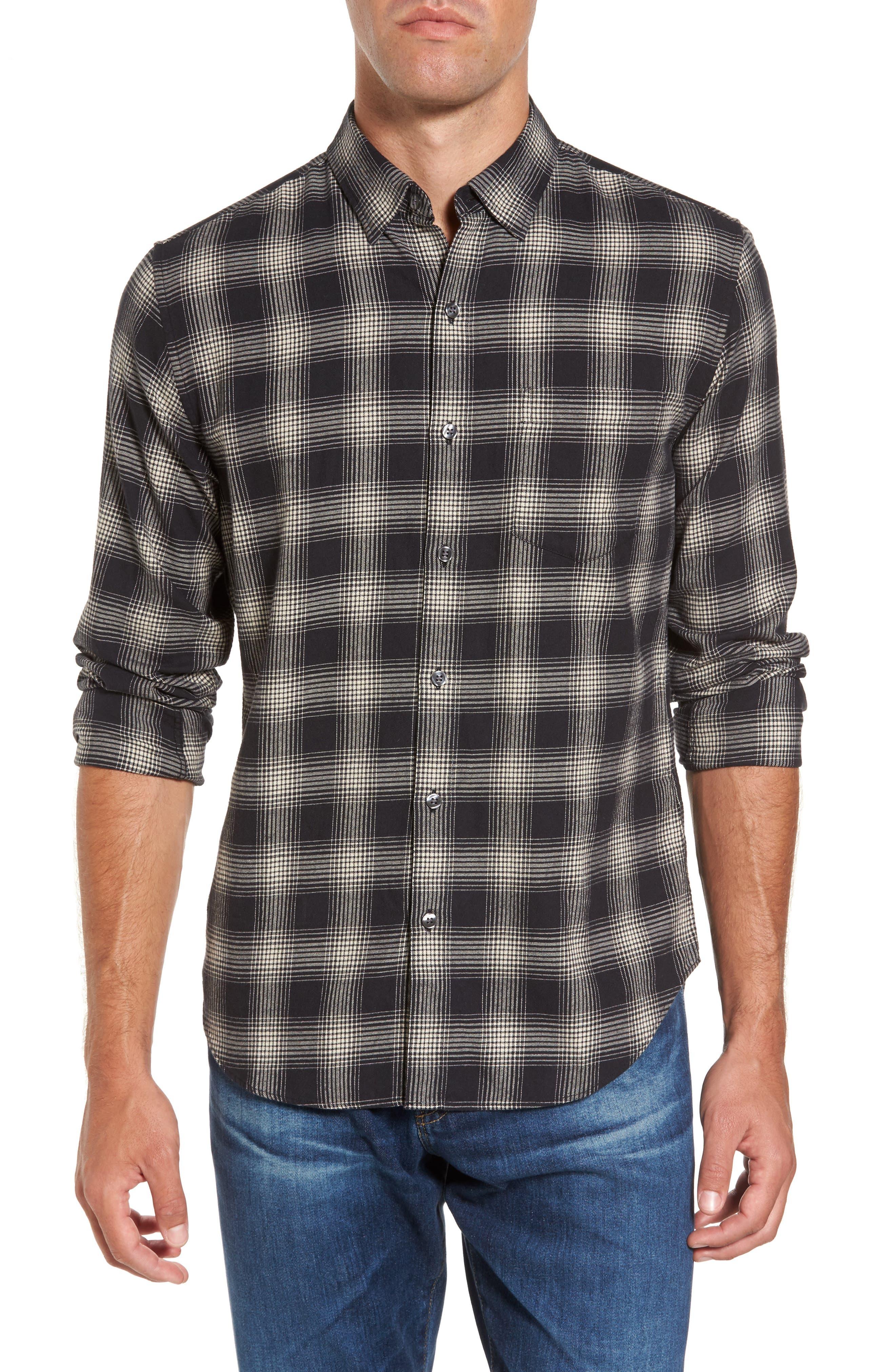 Slim Fit Plaid Brushed Twill Sport Shirt,                         Main,                         color, Black/ Brown Plaid