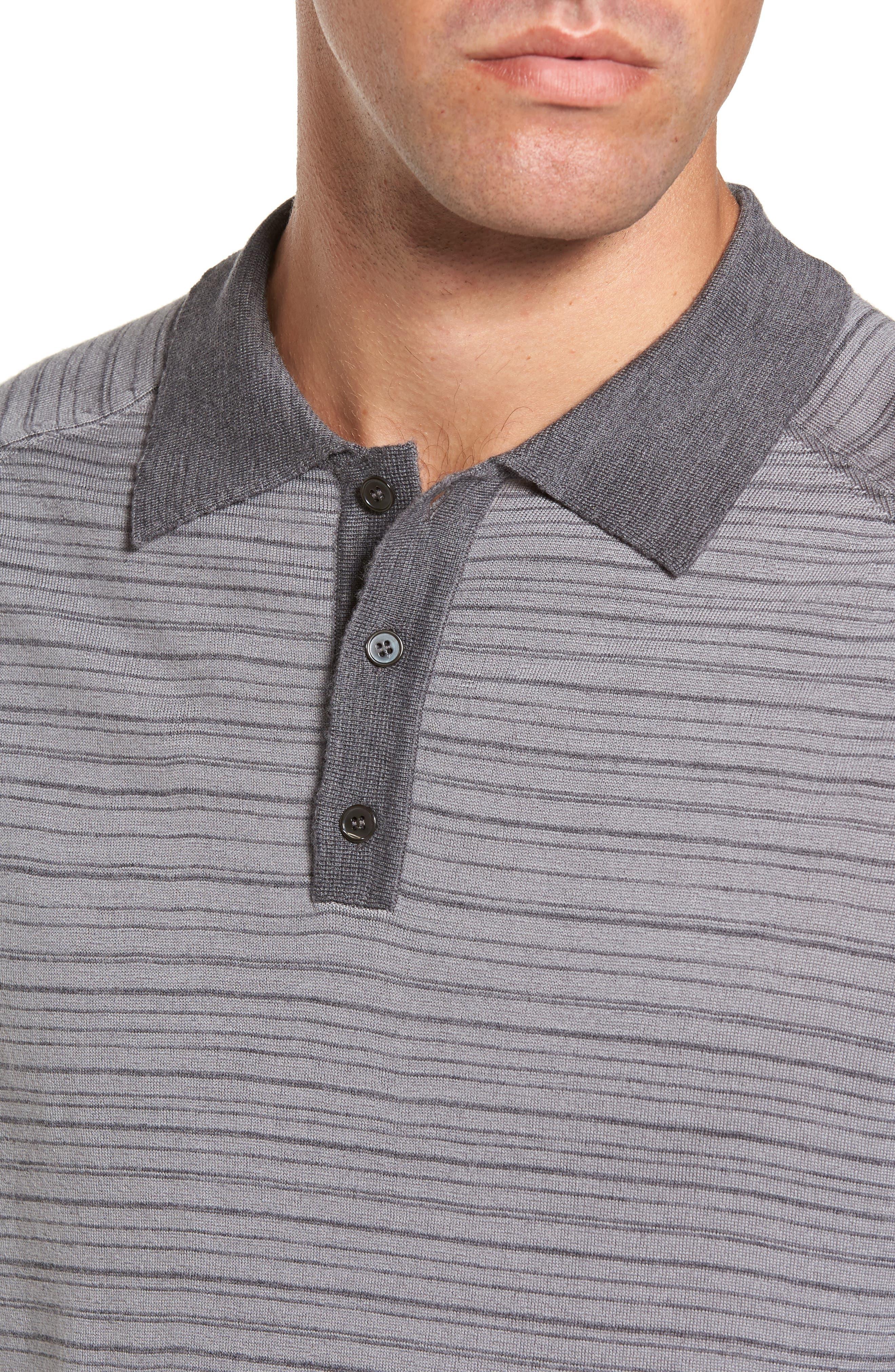 Alternate Image 4  - Gant Stripe Merino Wool Polo Sweater
