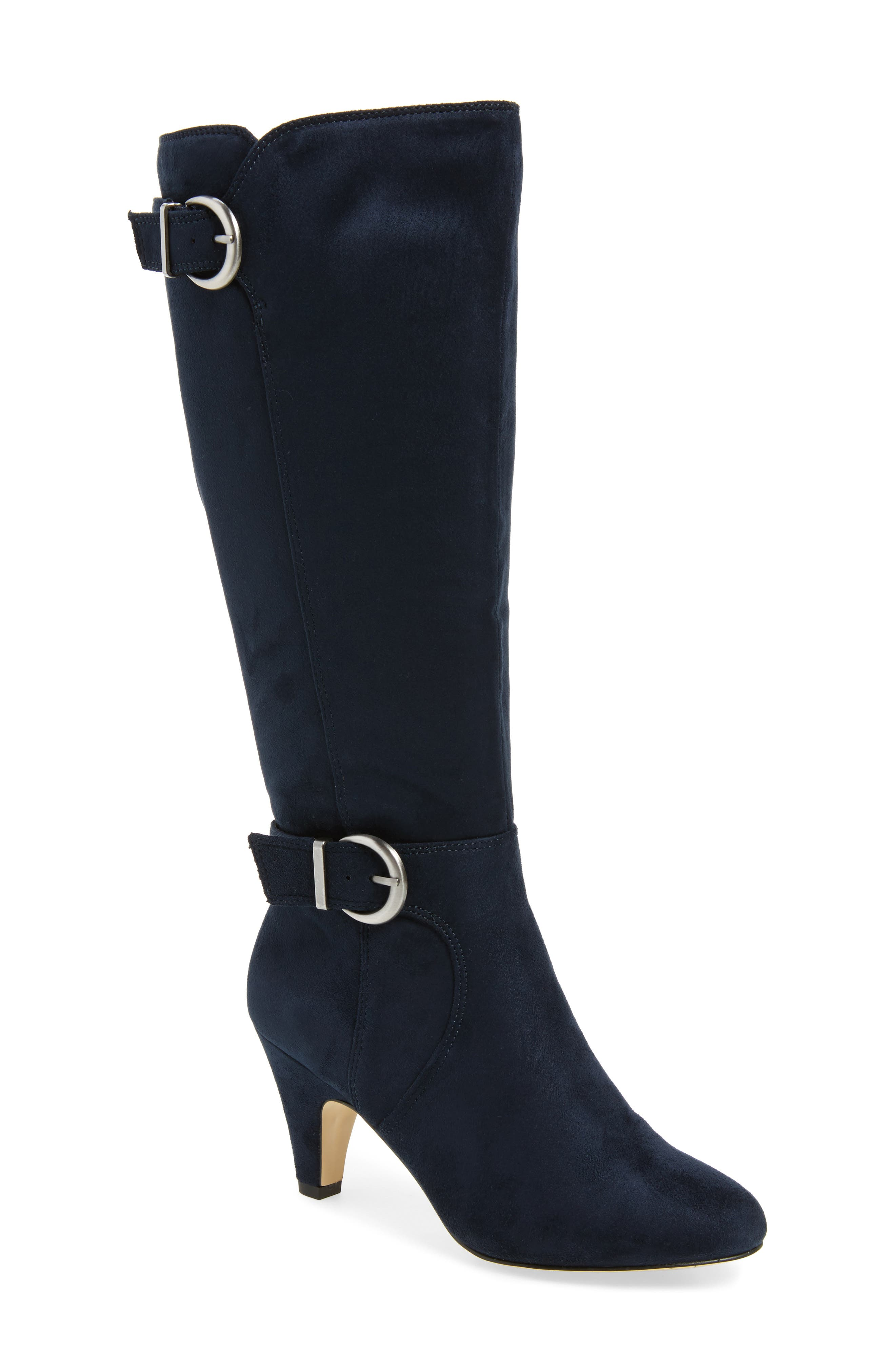 Toni II Knee High Boot,                         Main,                         color, Navy Suede