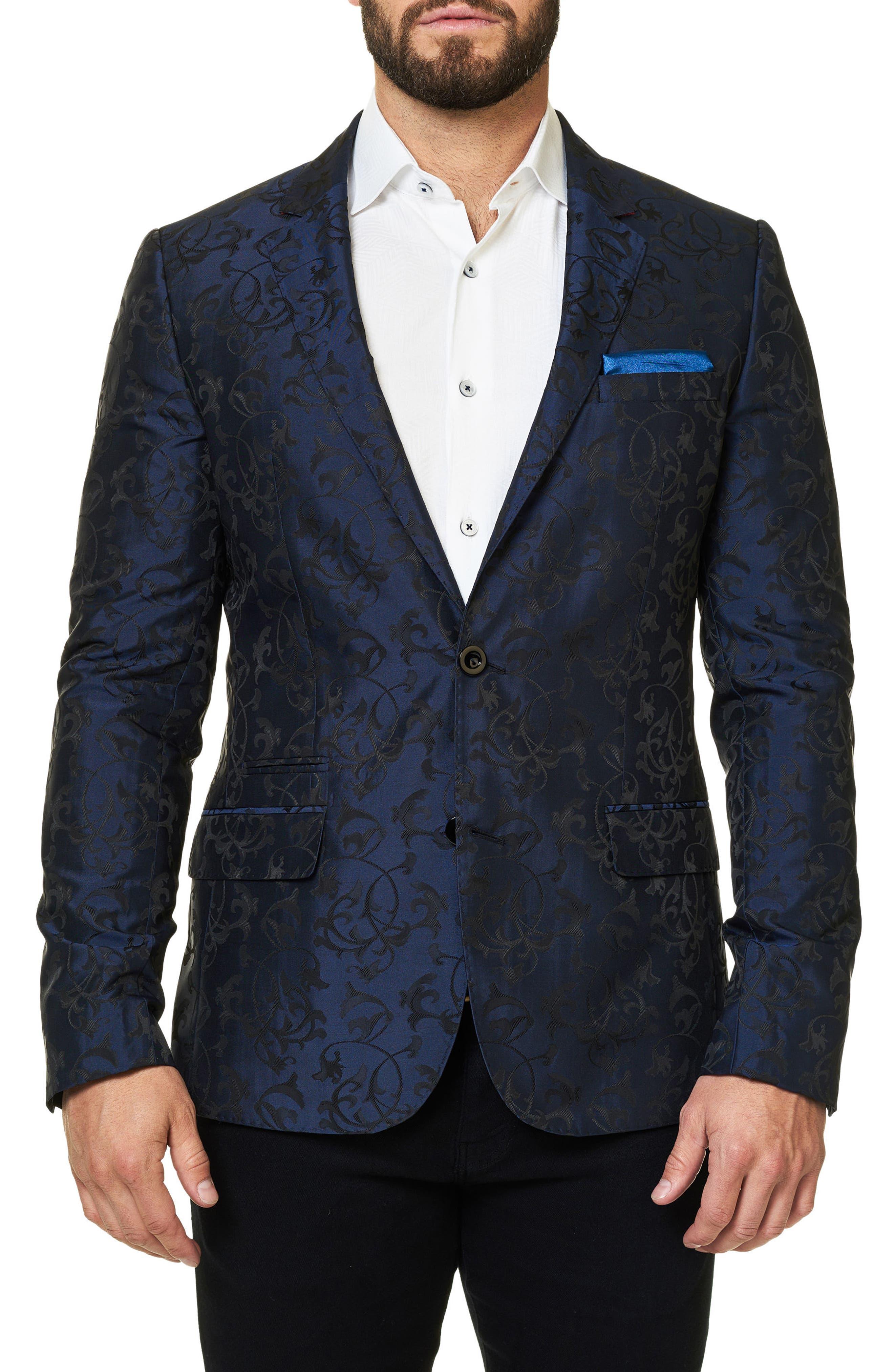 Scroll Jacquard Sport Coat,                         Main,                         color, Medium Blue