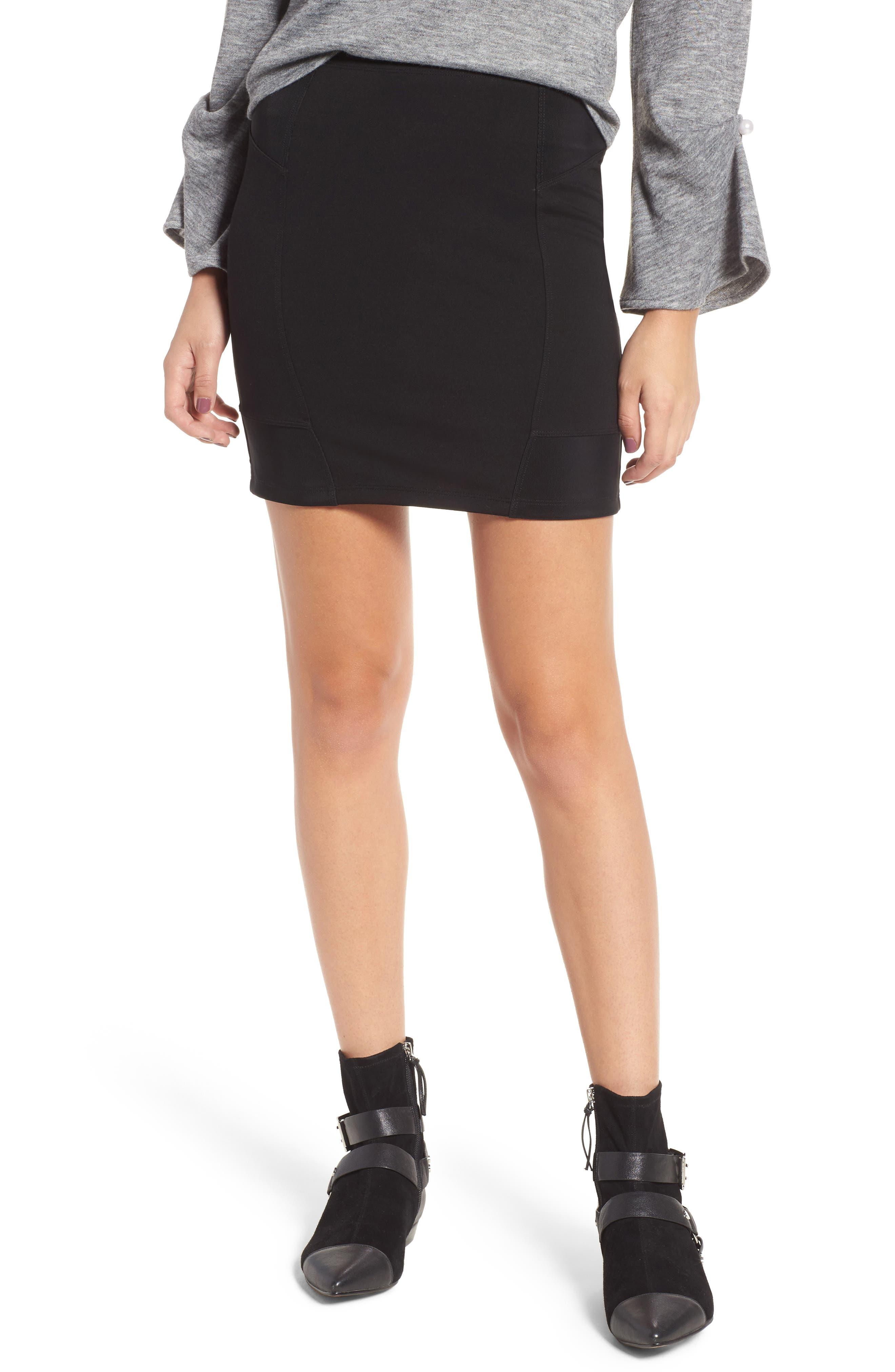 Ribbed Miniskirt,                         Main,                         color, Black