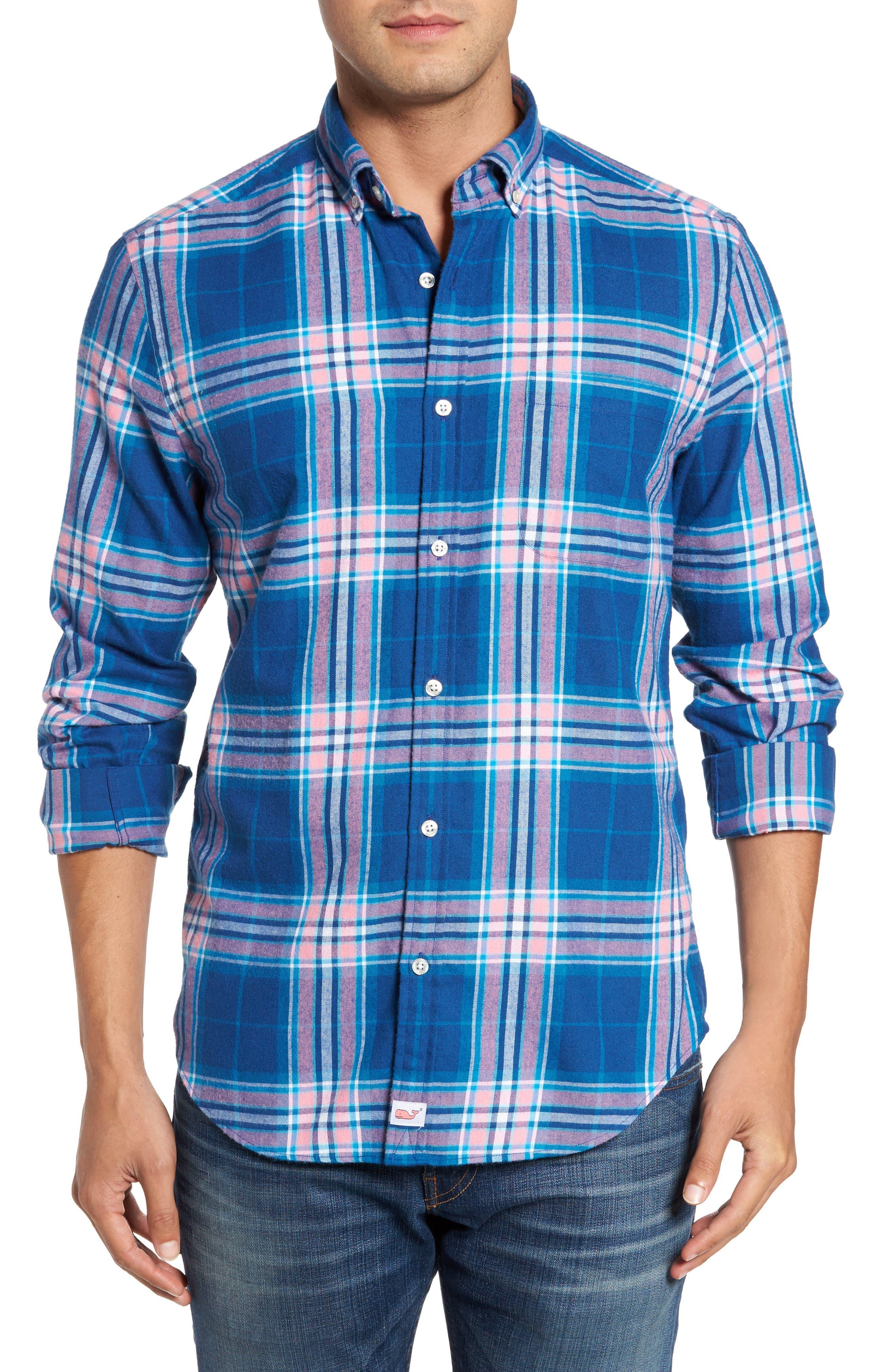 Murray Classic Fit Point Lobos Plaid Flannel Sport Shirt,                         Main,                         color, Bahama Breeze