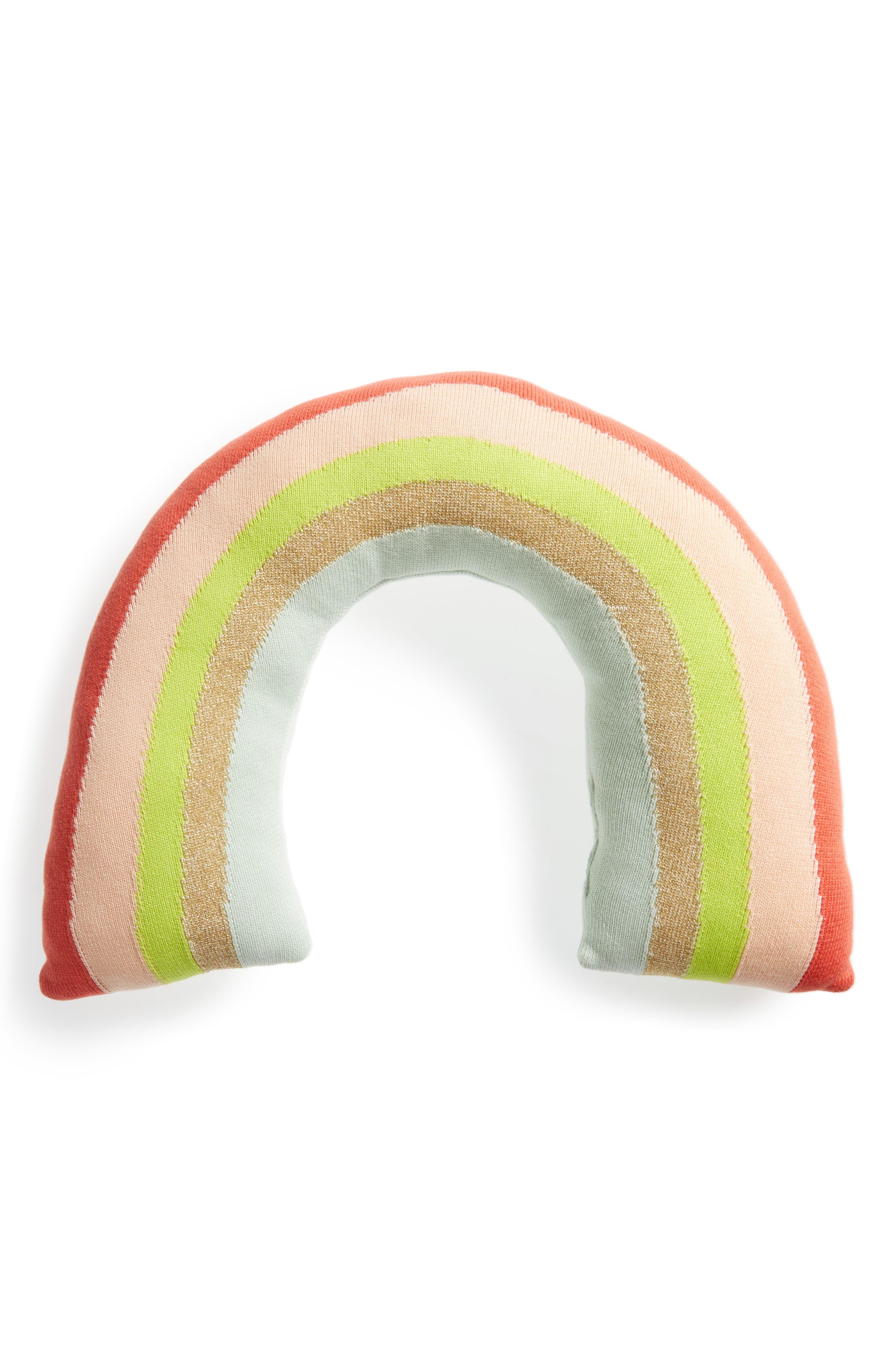 Alternate Image 1 Selected - Meri Meri Knit Organic Cotton Rainbow Cushion/Toy