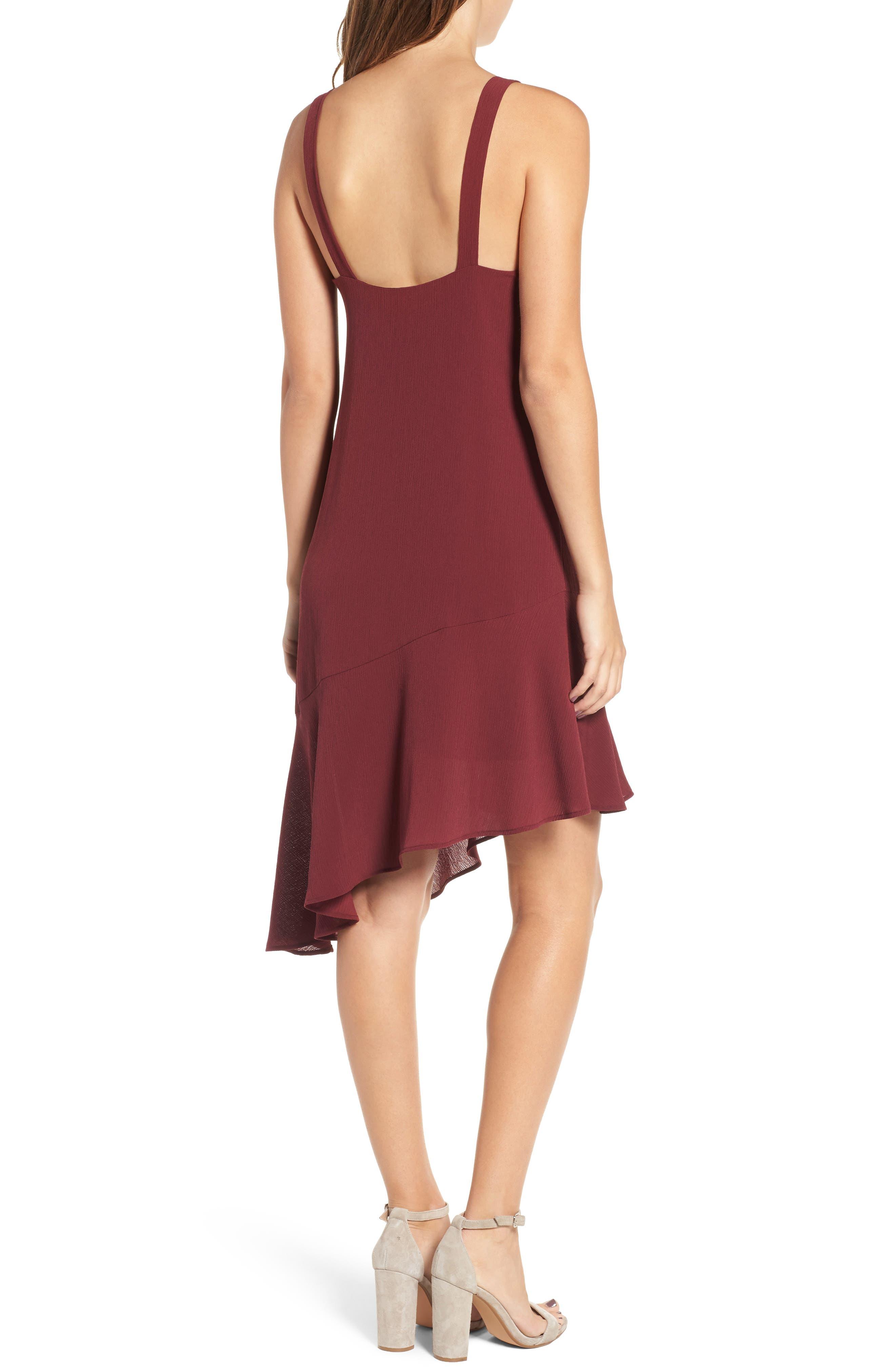 Asymmetrical Ruffle Hem Dress,                             Alternate thumbnail 2, color,                             Red Tannin