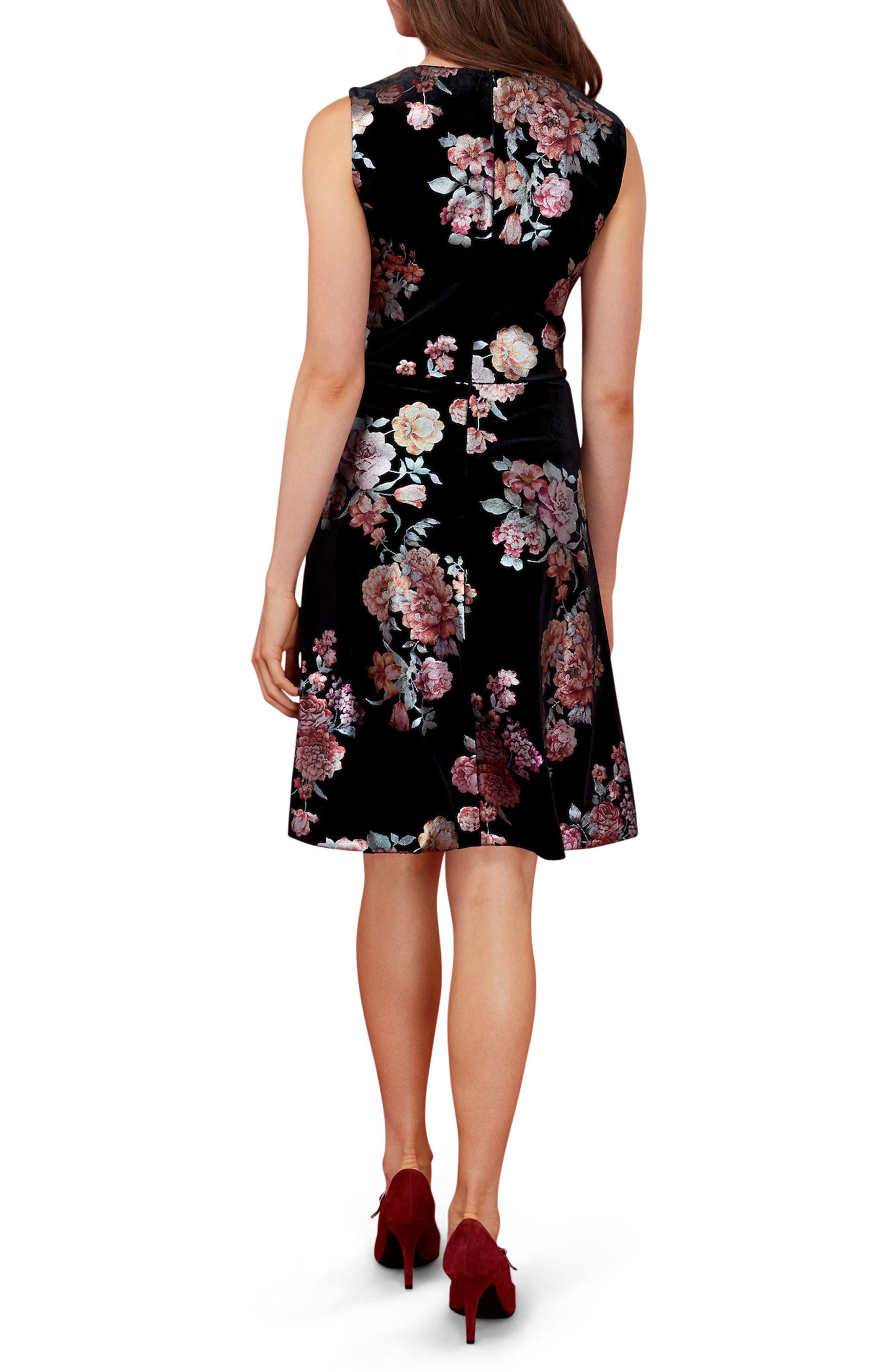 Metallic Floral Velvet A-Line Dress,                             Alternate thumbnail 2, color,                             Black/ Orange