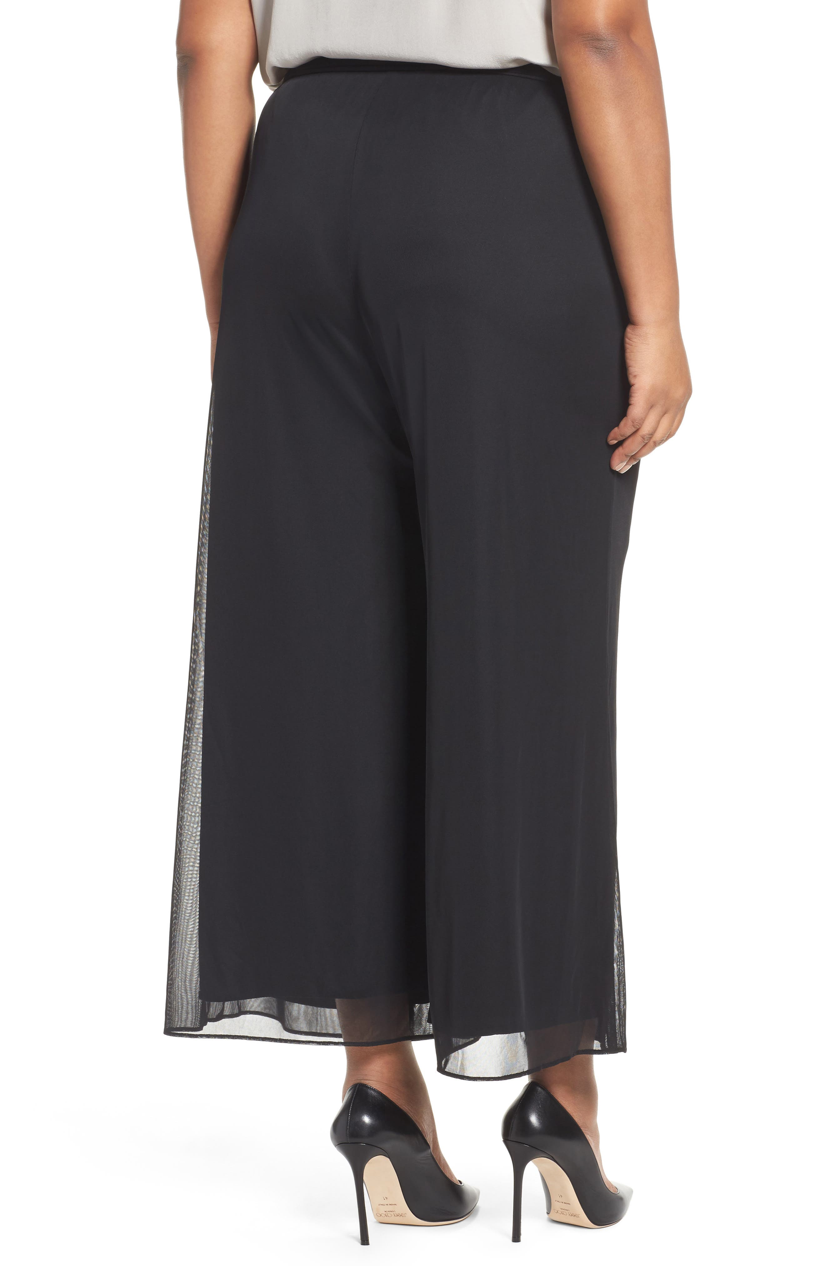 Tie Waist Wide Leg Pants,                             Alternate thumbnail 2, color,                             Black
