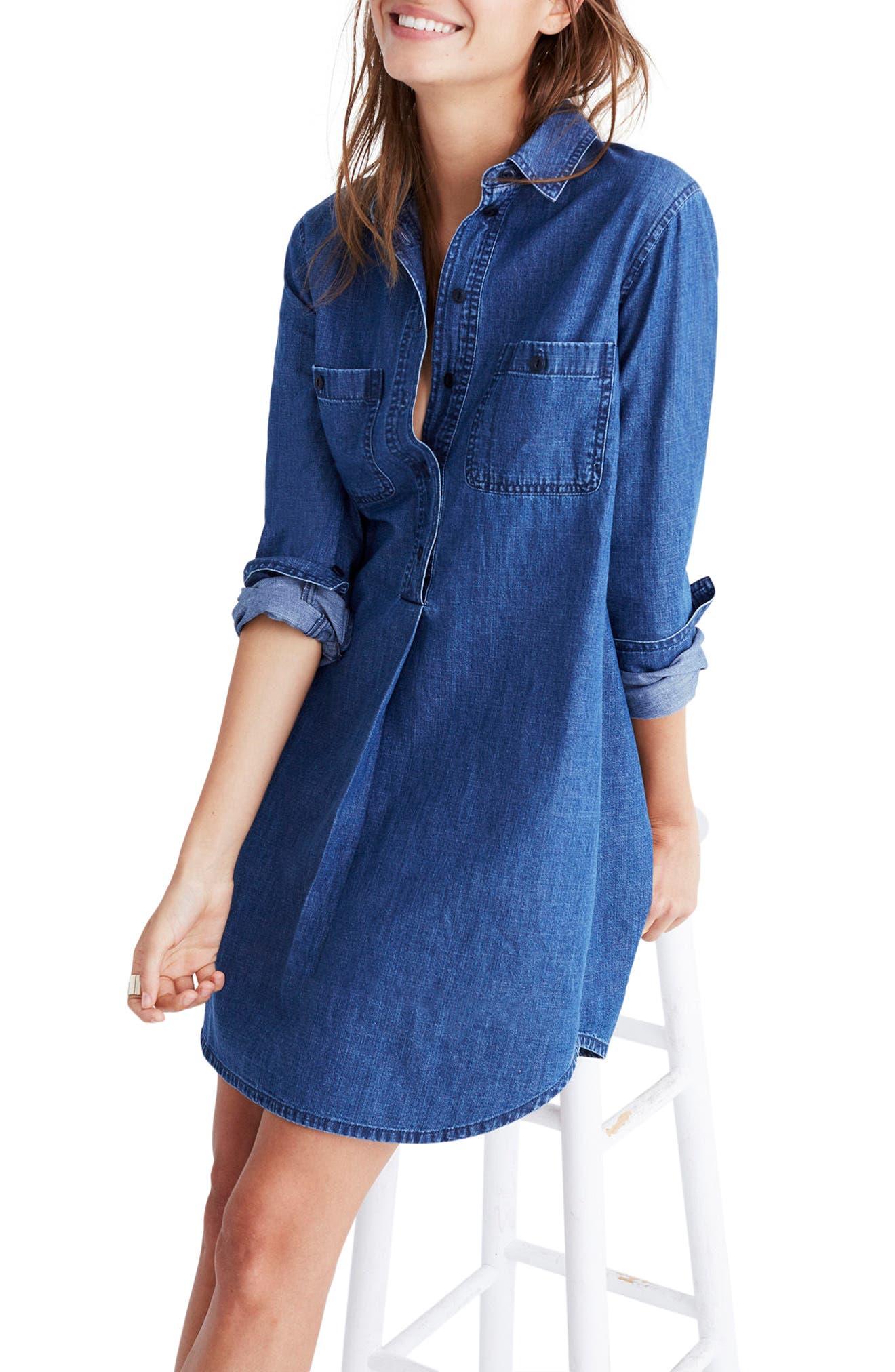 Denim Popover Shirtdress,                         Main,                         color, Ian Wash