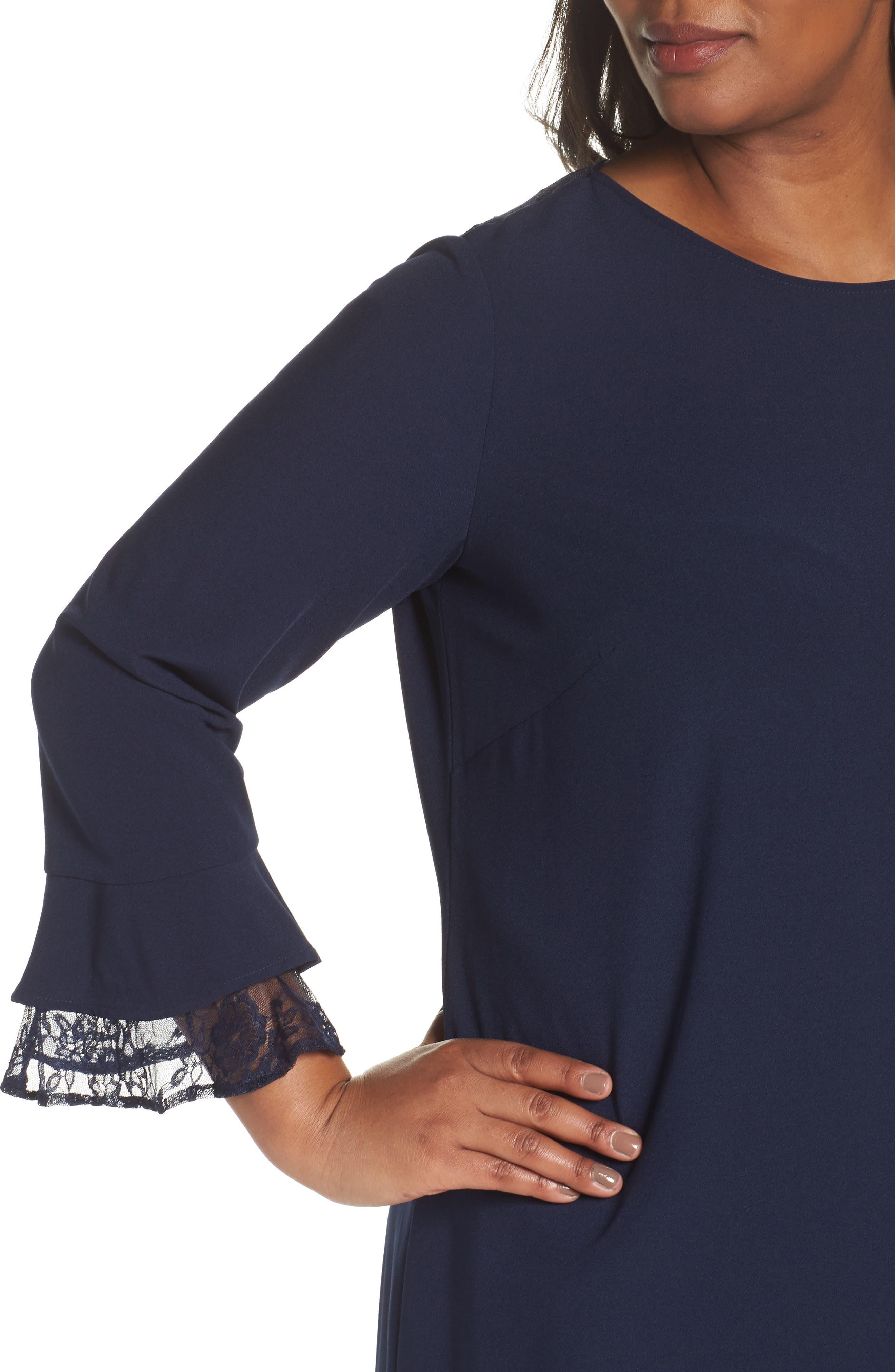 Alternate Image 4  - Tahari Lace Trim Shift Dress (Plus Size)