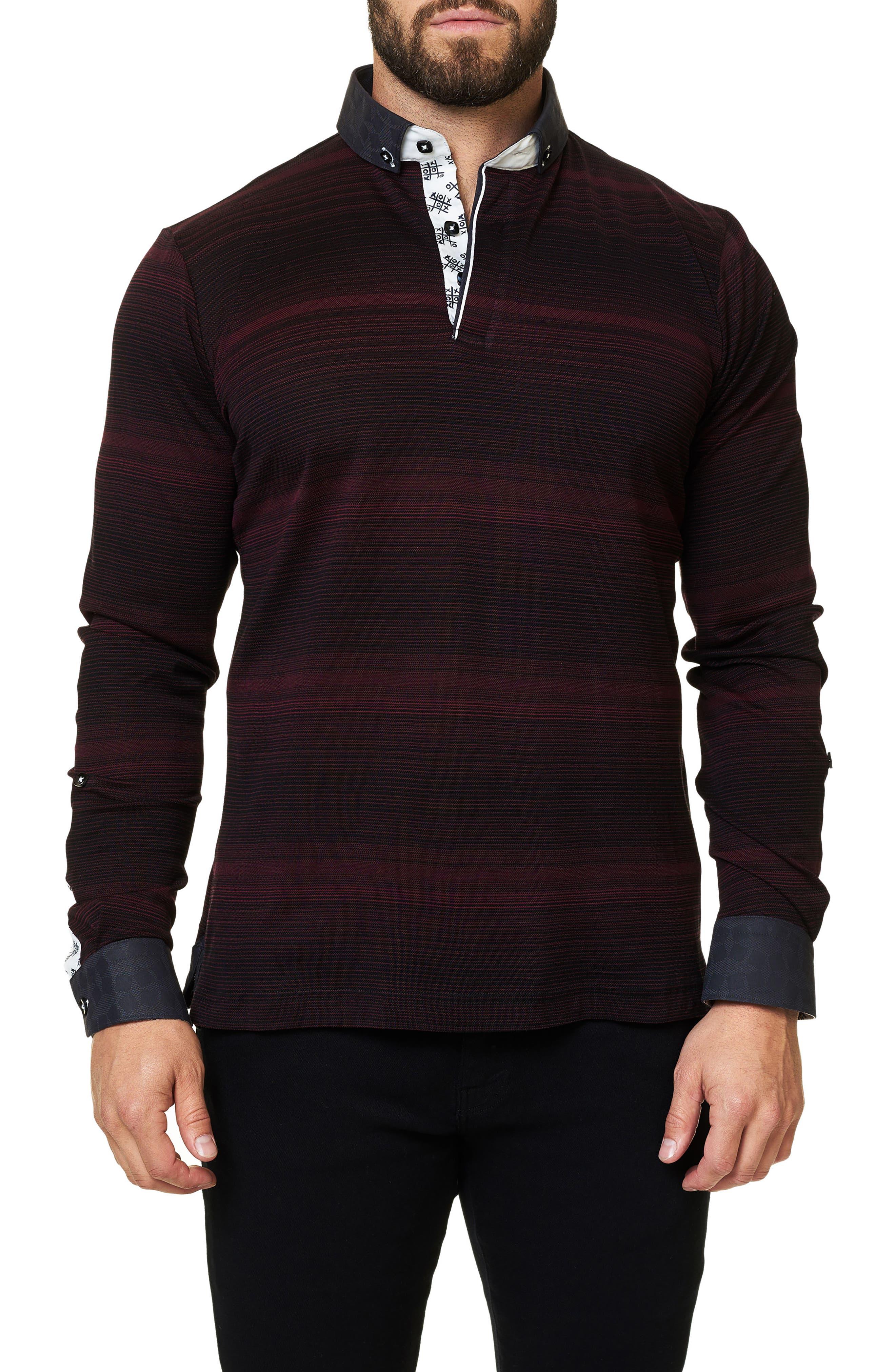 Maceoo Stripe Long Sleeve Polo