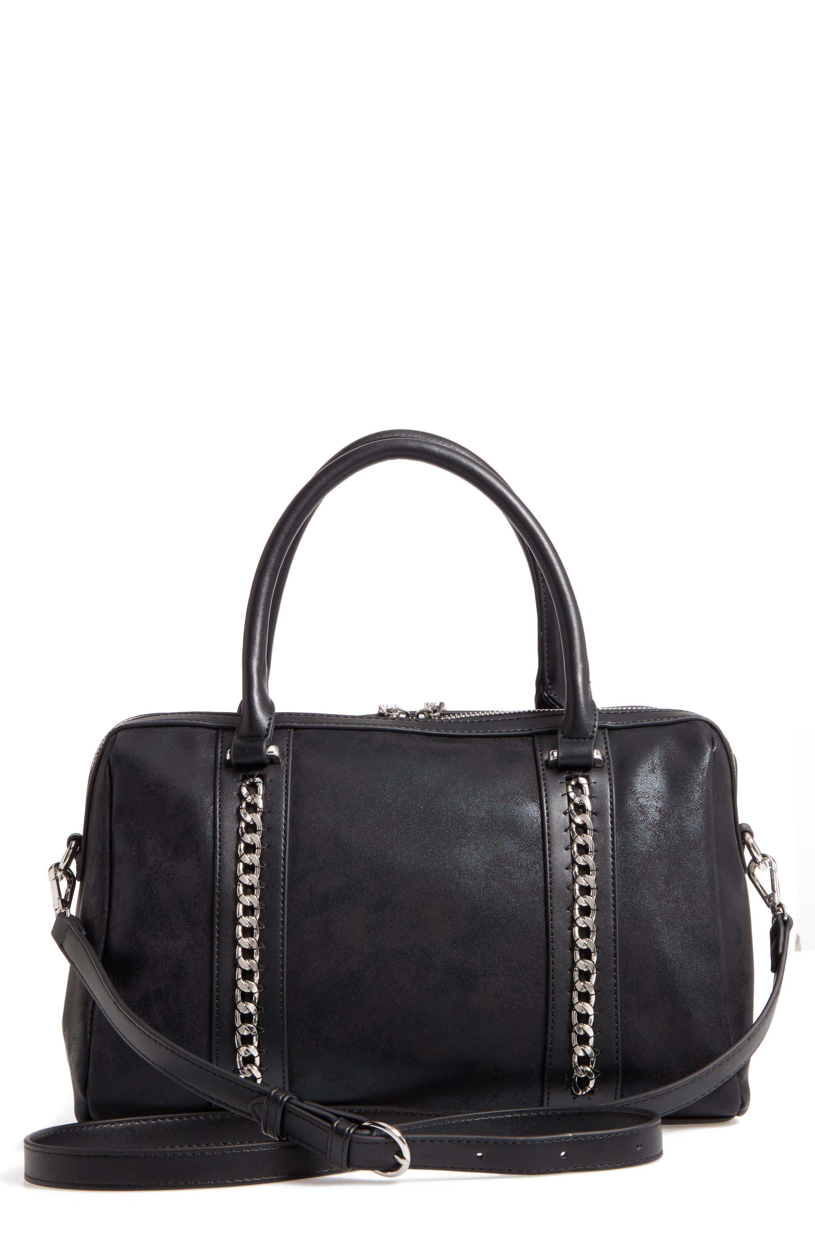 Karlie Faux Leather Satchel,                         Main,                         color, Black