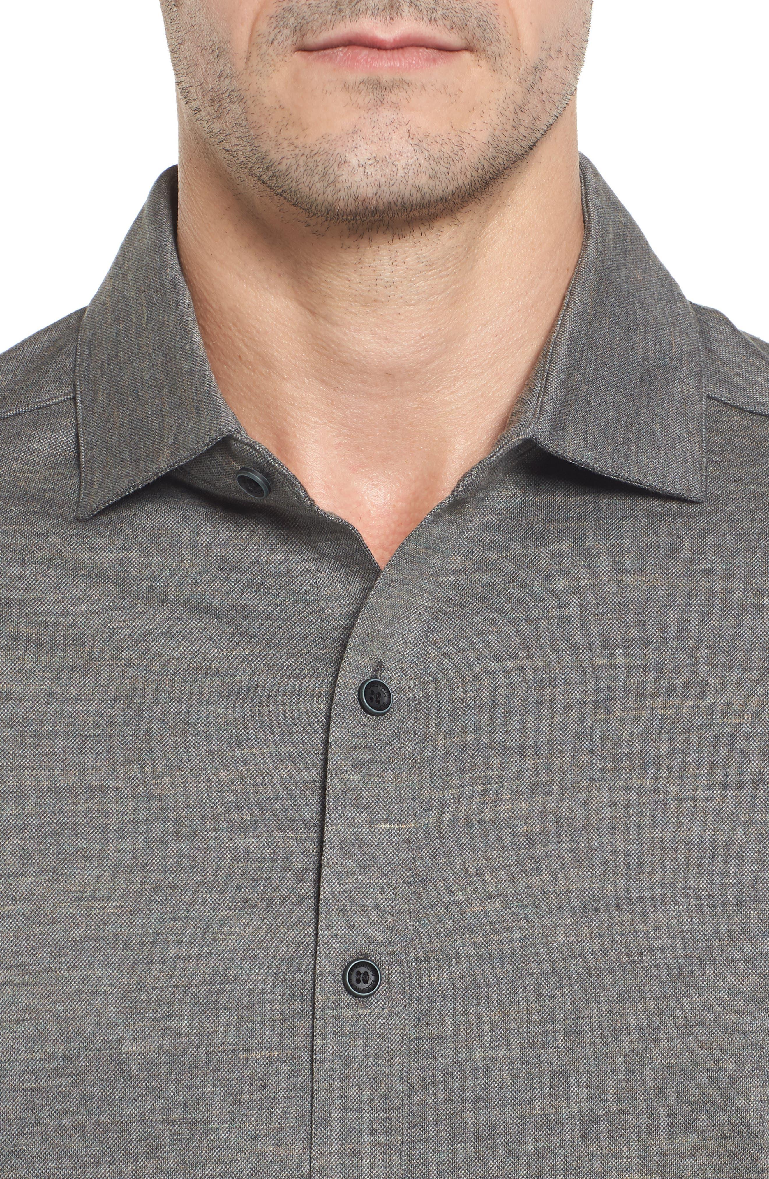 Regular Fit Piqué Knit Sport Shirt,                             Alternate thumbnail 4, color,                             Graphite