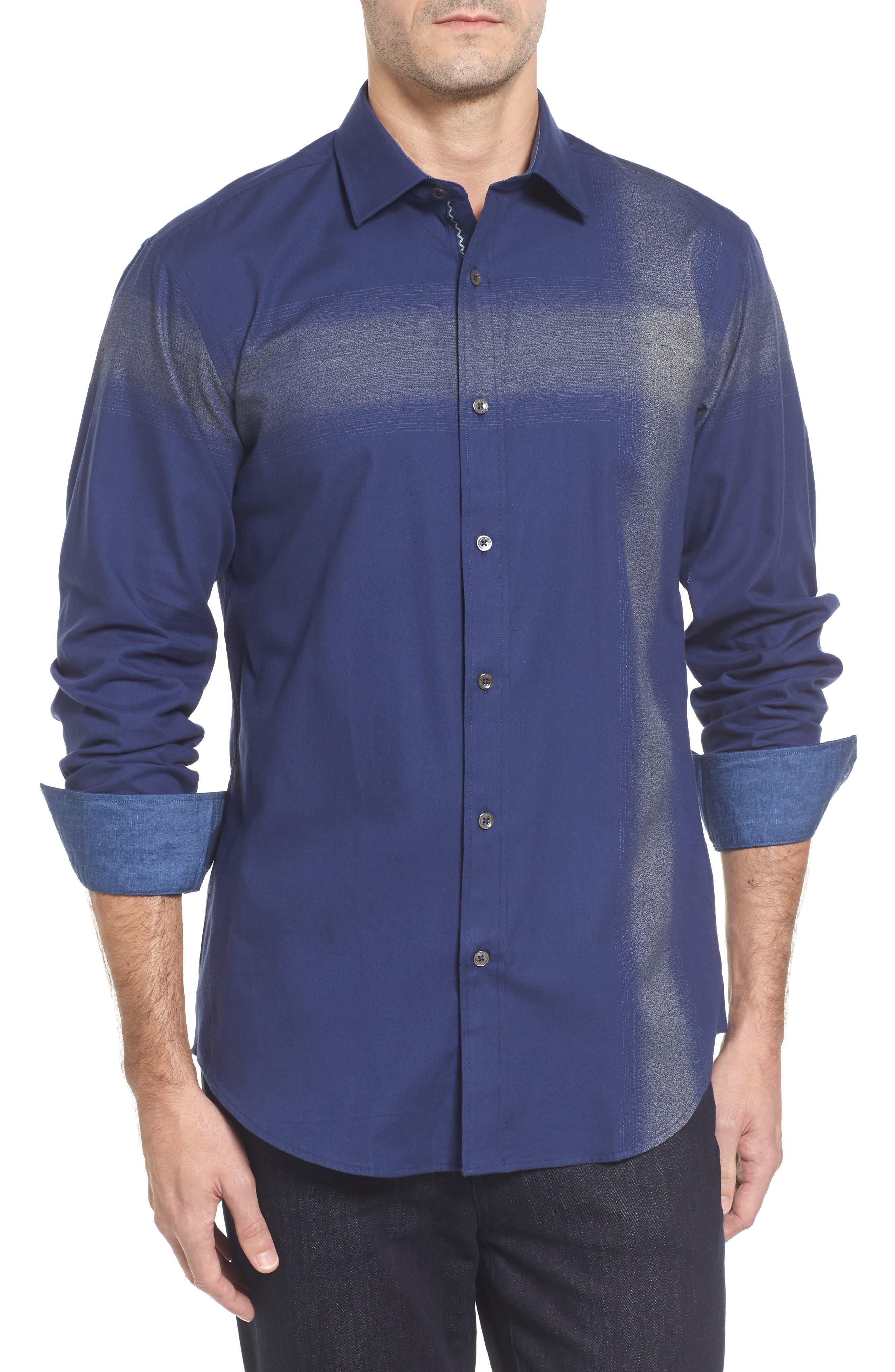 Classic Fit Ombré Stripe Sport Shirt,                         Main,                         color, Navy