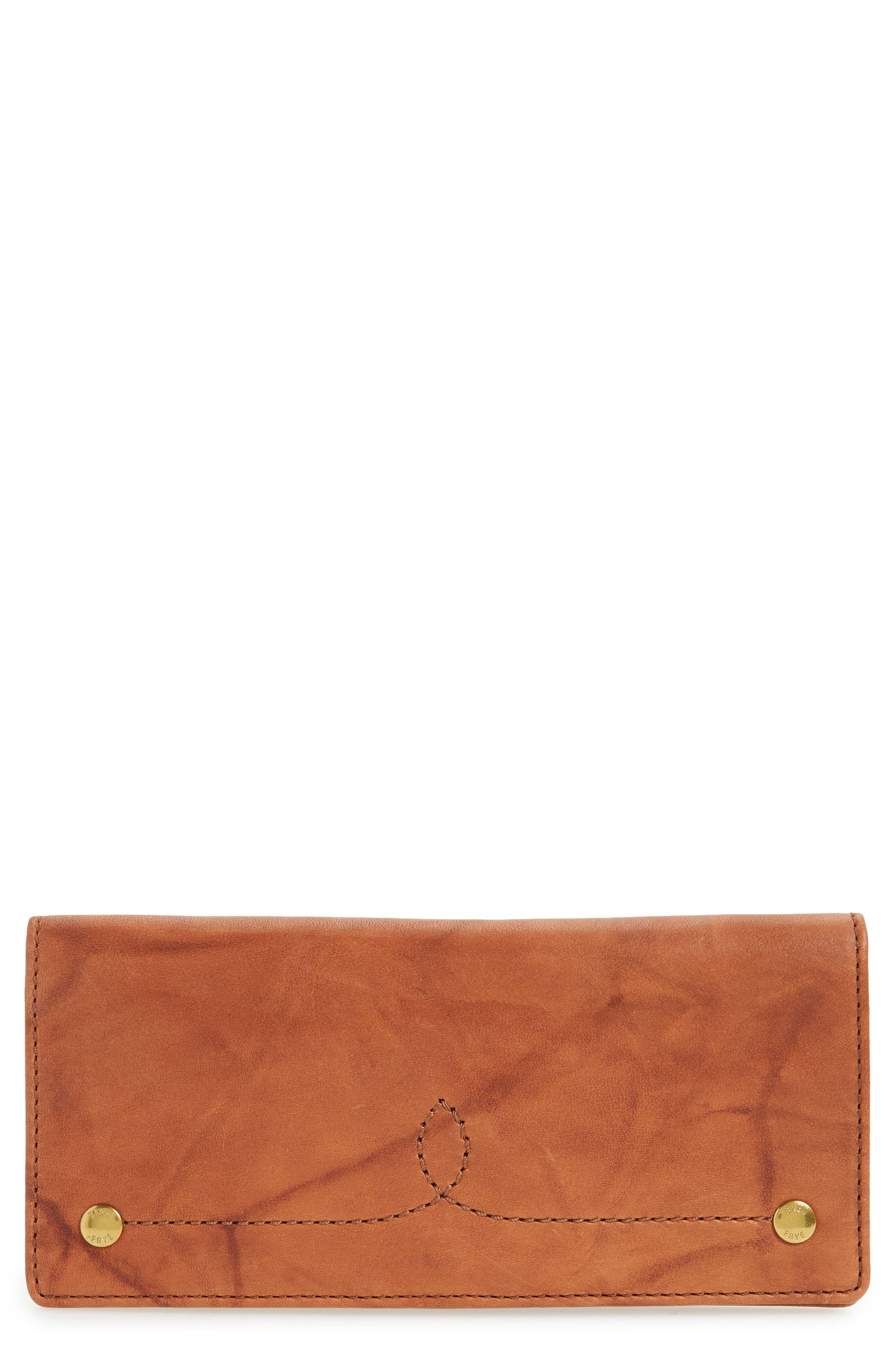 Campus Rivet Slim Leather Wallet,                             Main thumbnail 1, color,                             Saddle