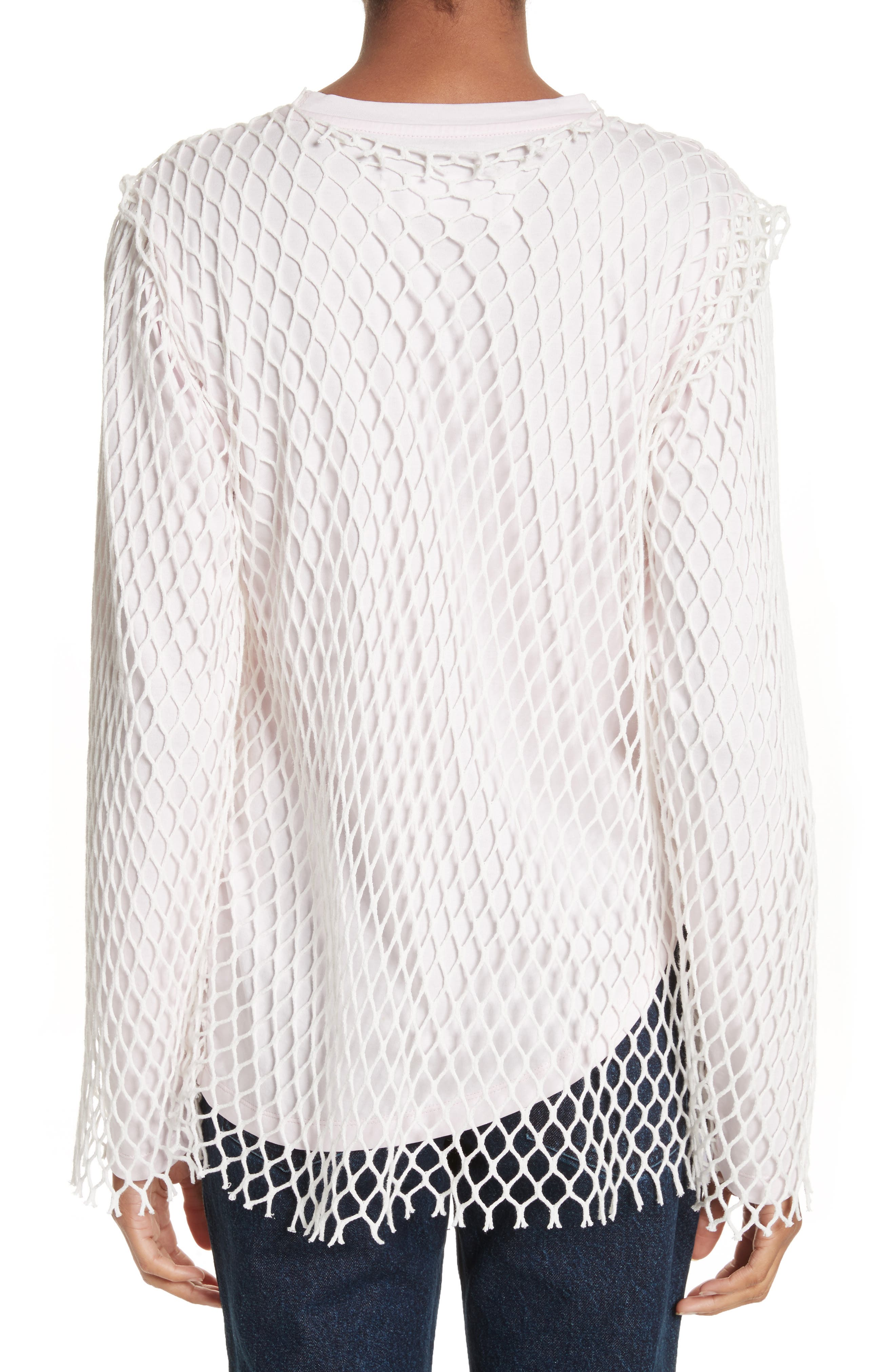 Marques'Almeida Net Jersey Top,                             Alternate thumbnail 2, color,                             Pale Pink
