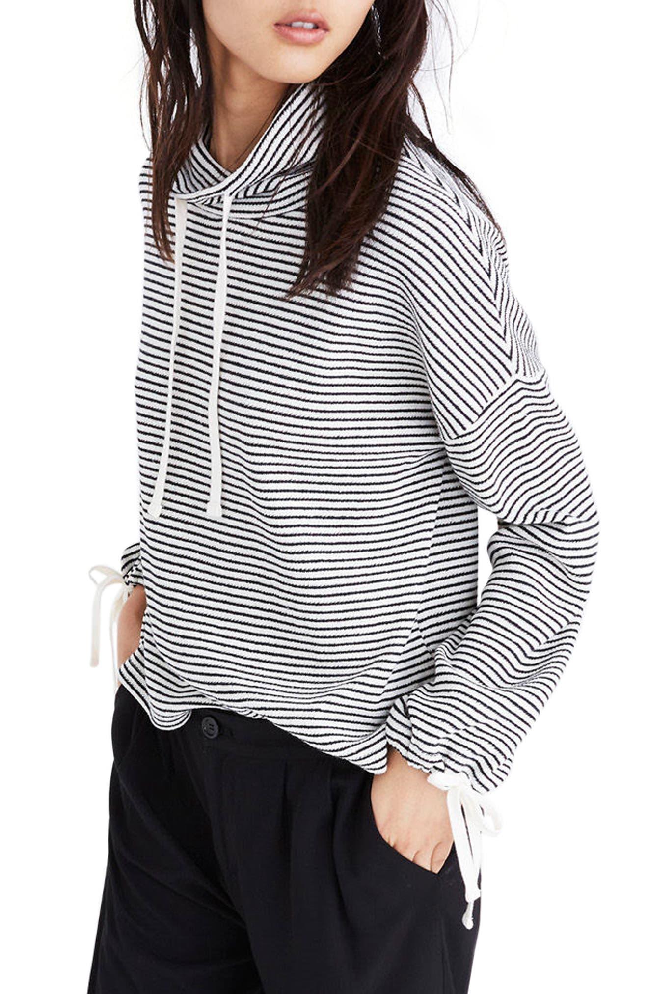 Stripe Funnel Neck Tie Sleeve Sweatshirt,                         Main,                         color, Antique Cream