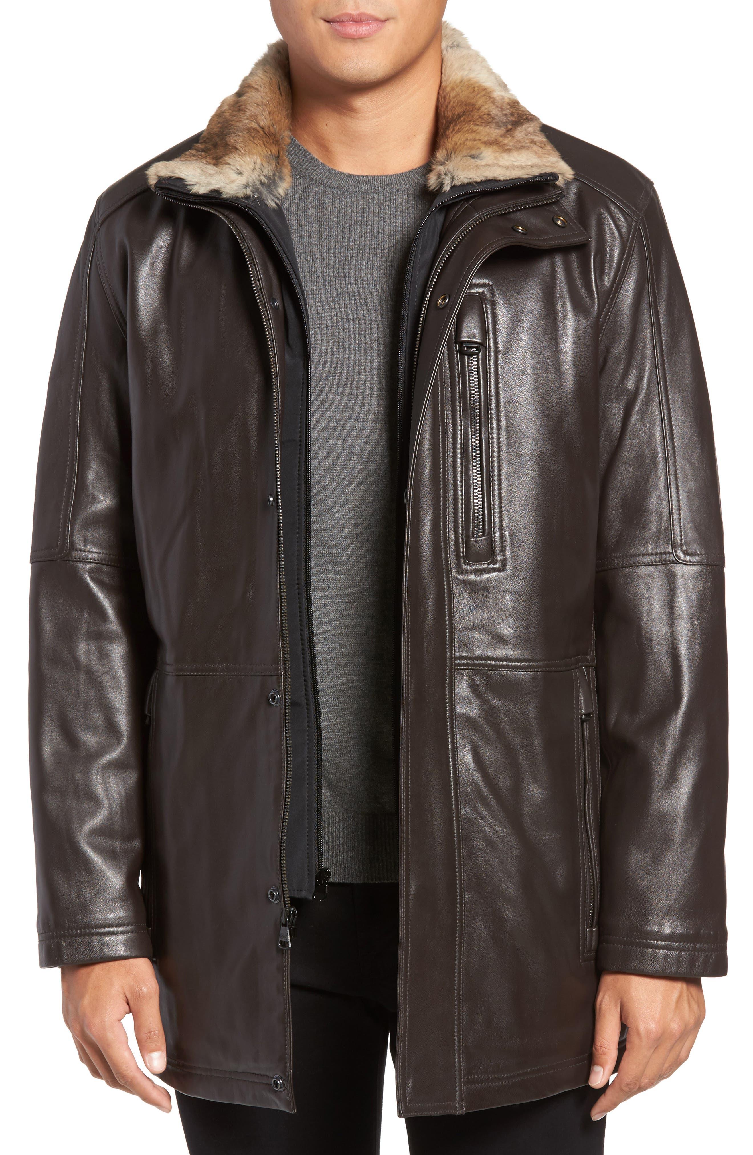 Middlebury Leather Car Coat with Genuine Rabbit Fur Trim,                         Main,                         color, Espresso