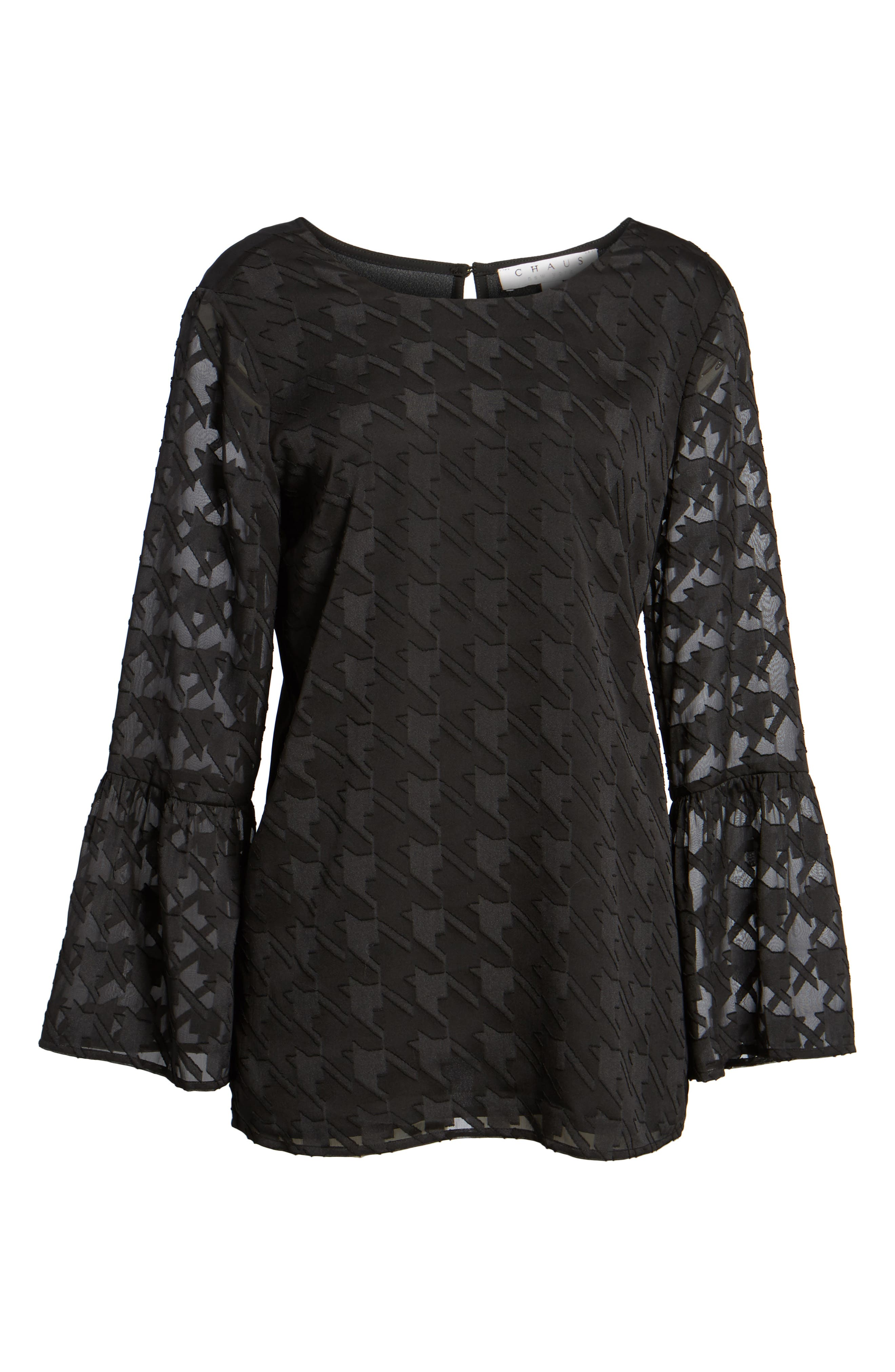 Alternate Image 6  - Chaus Bell Sleeve Houndstooth Blouse