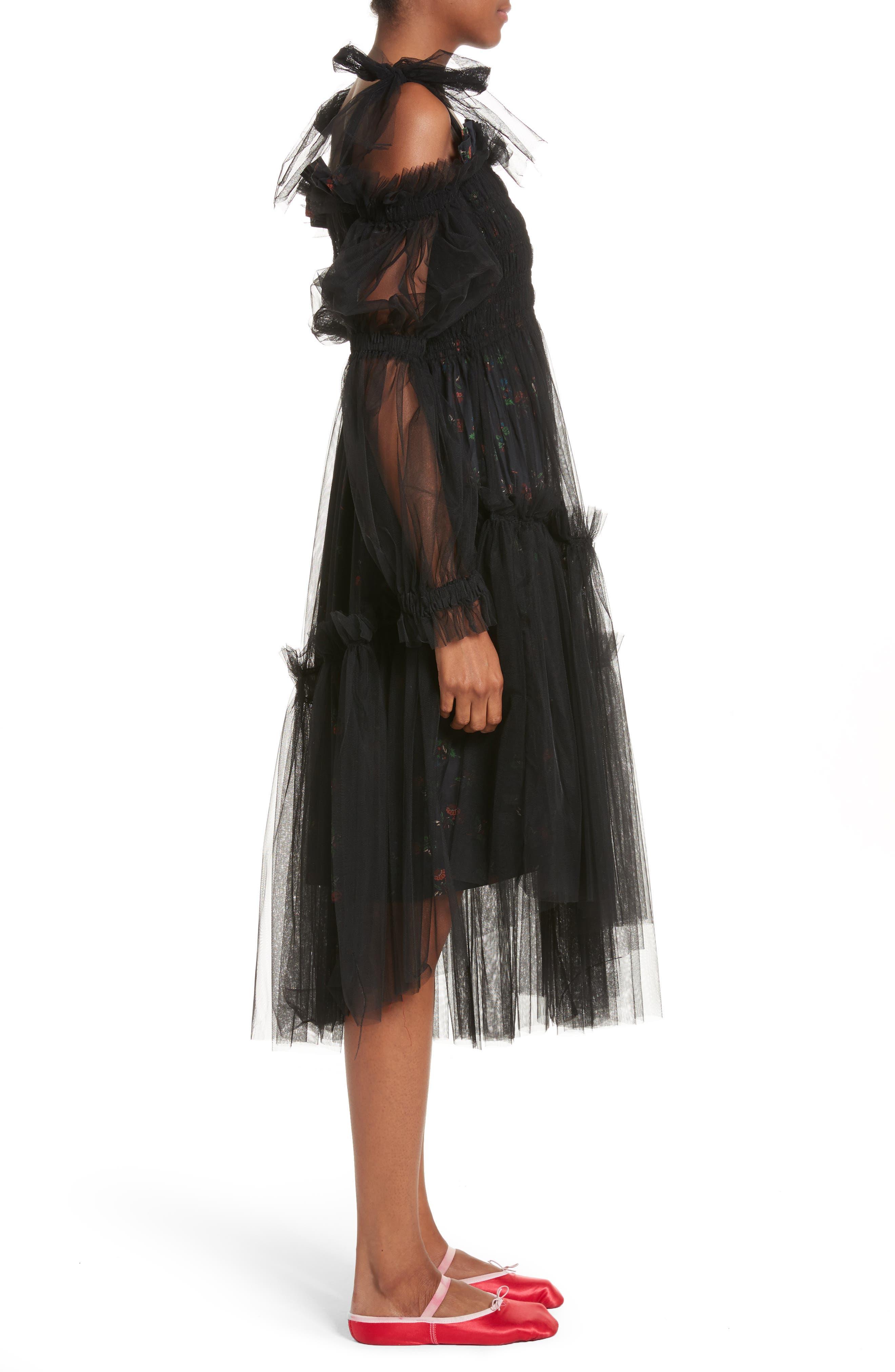 Ruby Tulle Floral Dress,                             Alternate thumbnail 3, color,                             Black
