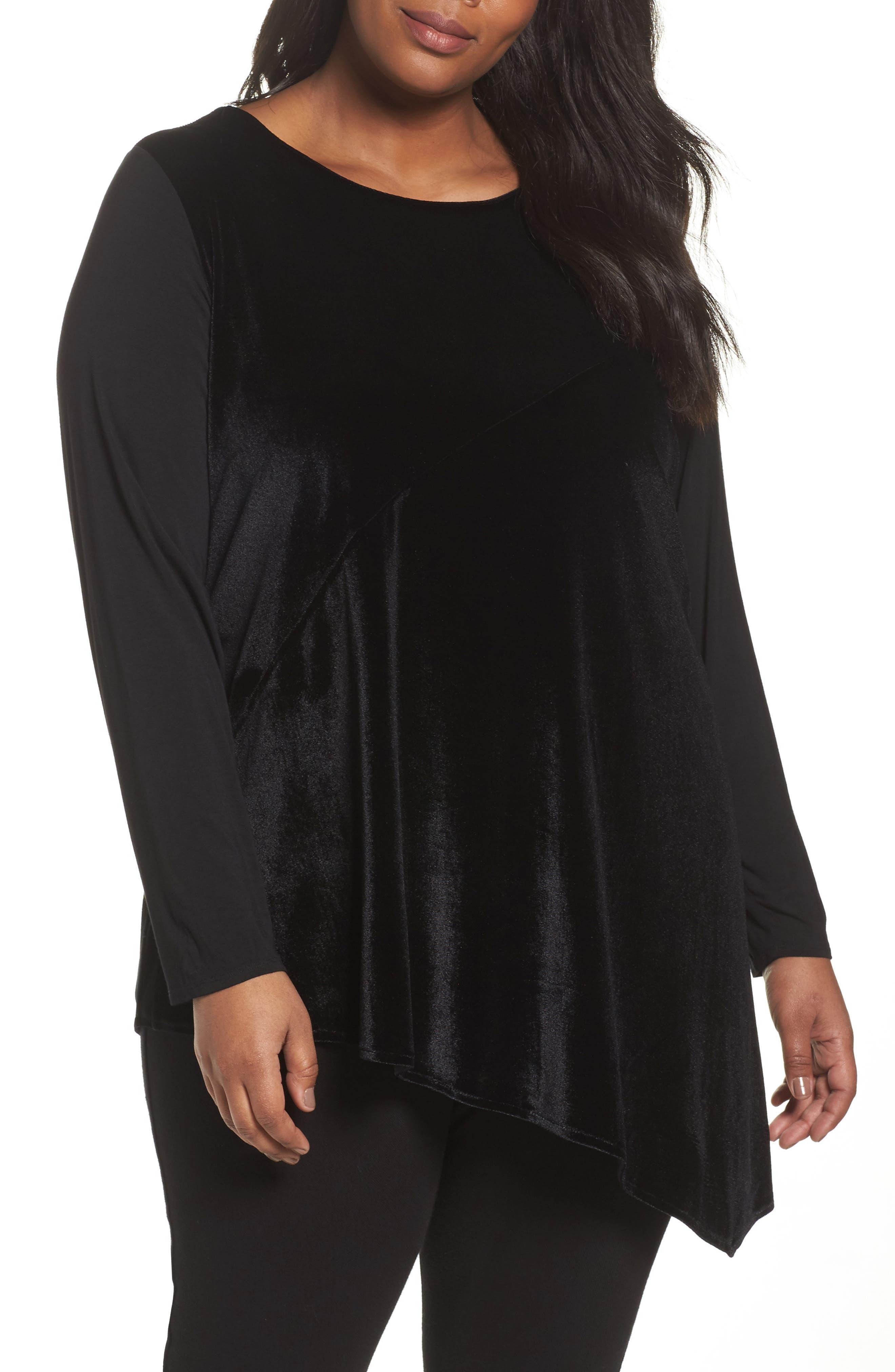 Cassidy Mixed Media Tunic,                         Main,                         color, Black