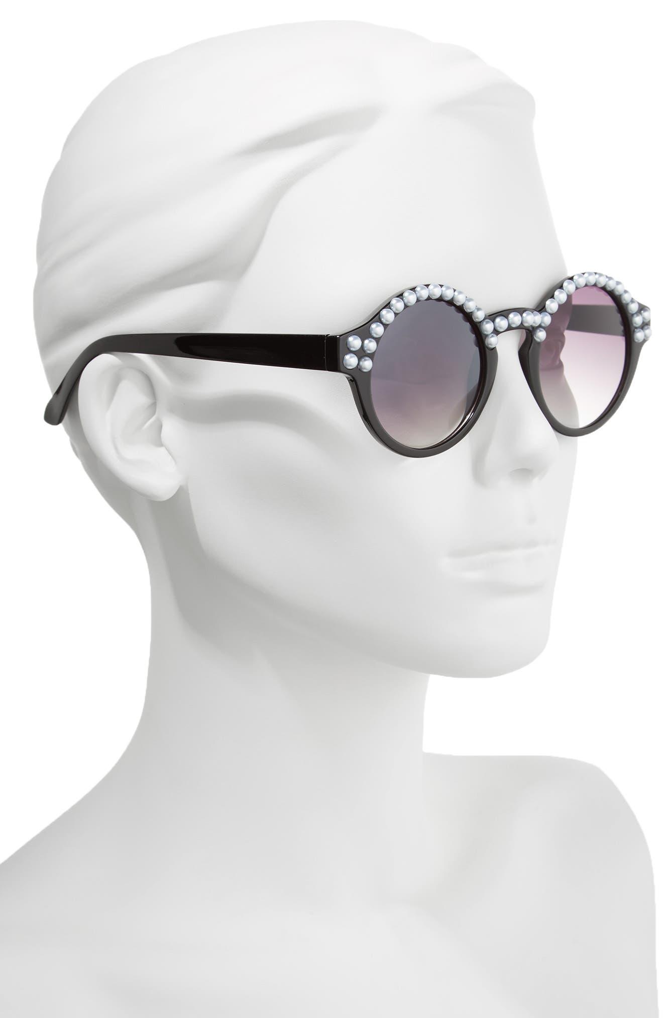 45mm Imitation Pearl Round Sunglasses,                             Alternate thumbnail 2, color,                             Black