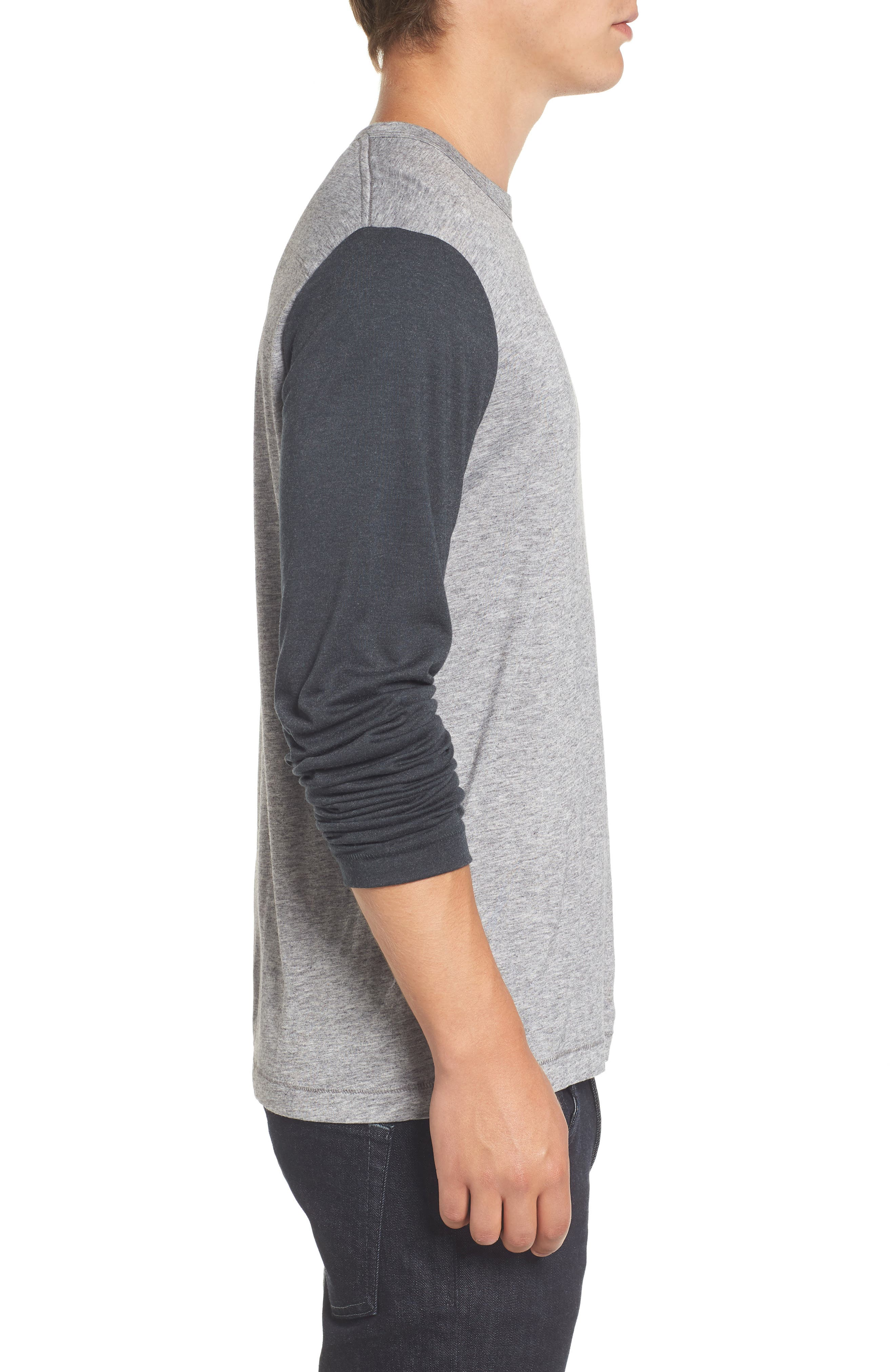 Contrast Long Sleeve T-Shirt,                             Alternate thumbnail 3, color,                             Grey Melange/ Ebony