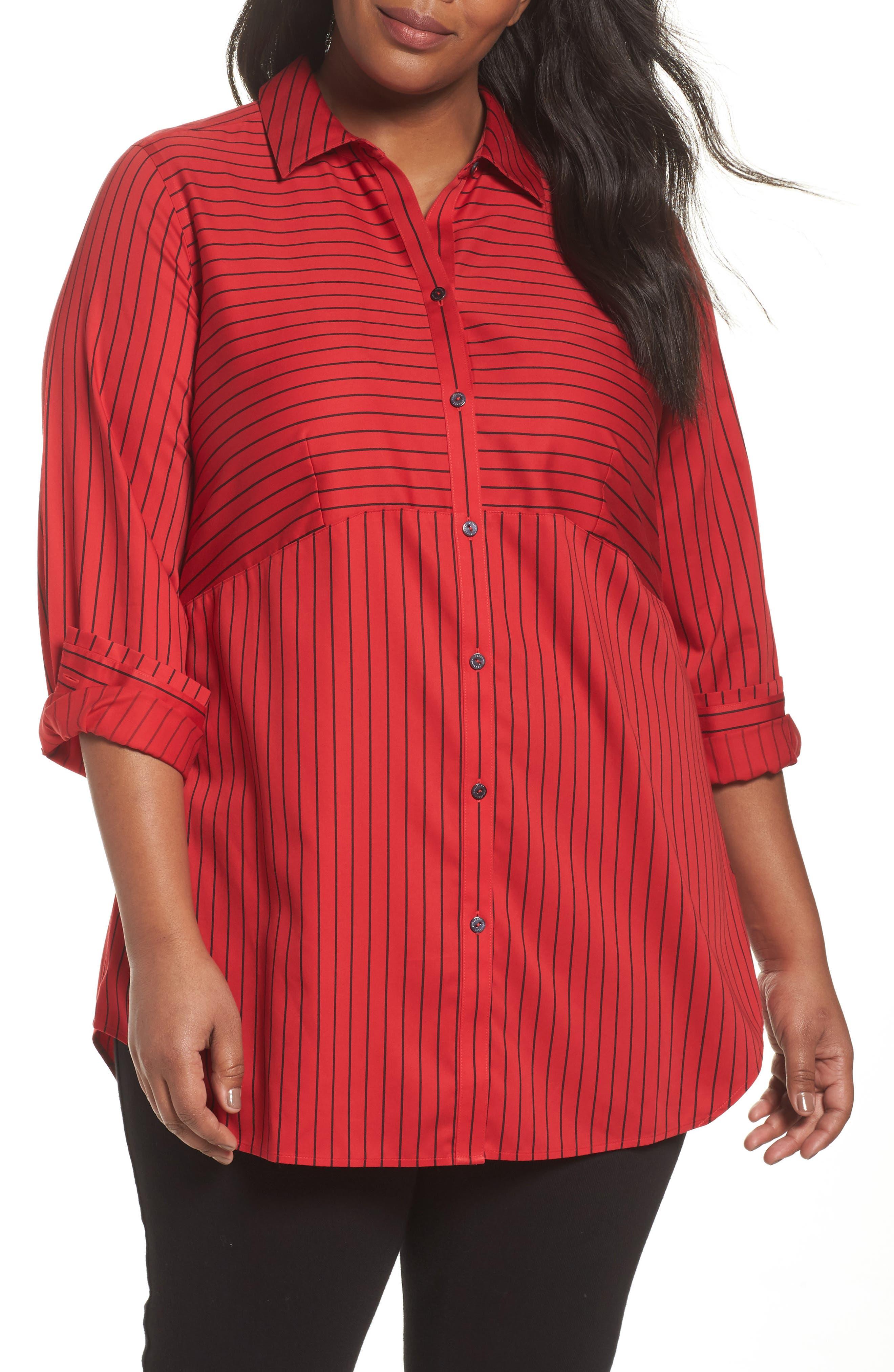 Alternate Image 1 Selected - Foxcroft Gina Holiday Stripe Shirt (Plus Size)