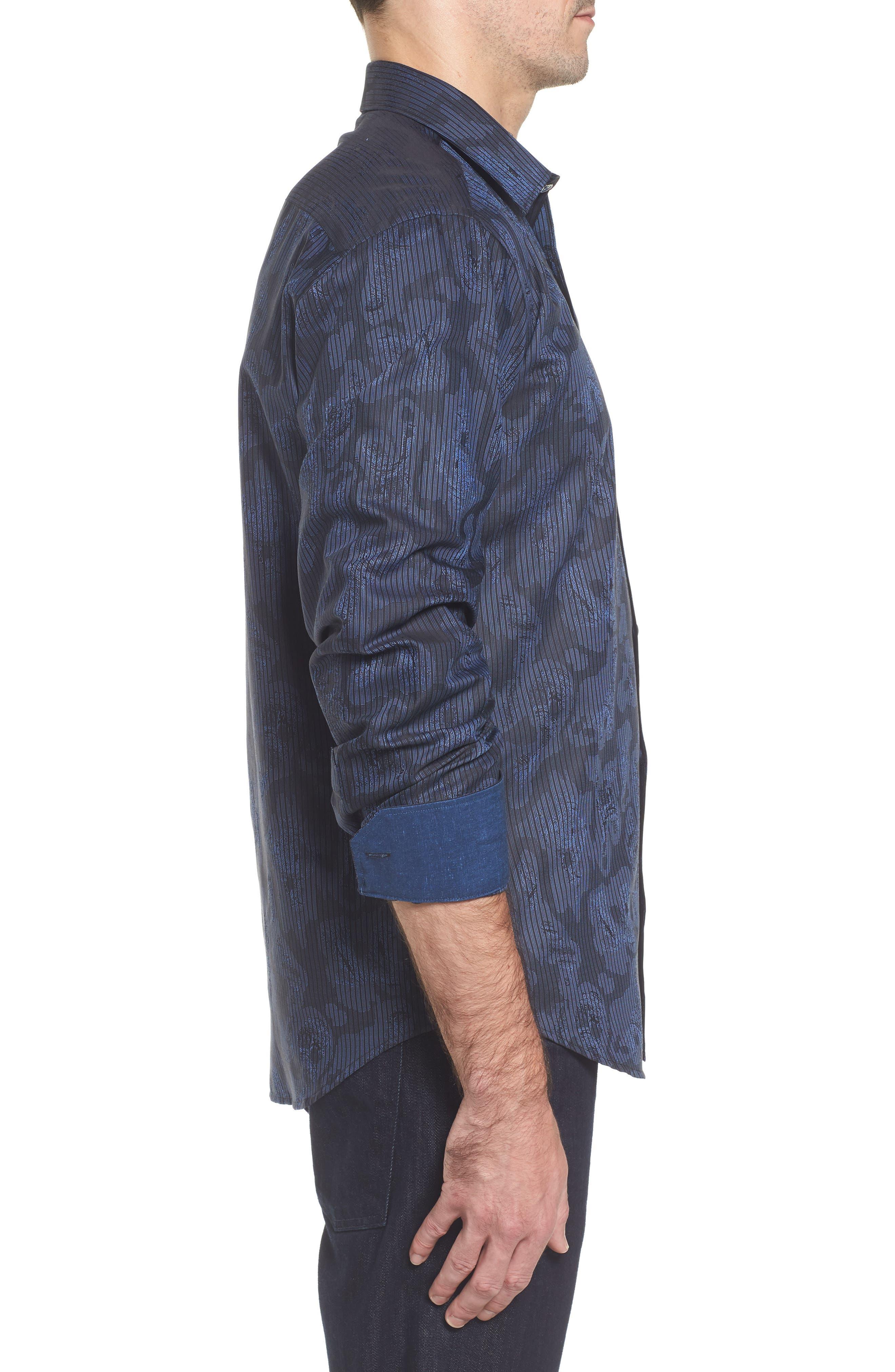 Alternate Image 3  - Bugatchi Slim Fit Jacquard Stripe Sport Shirt