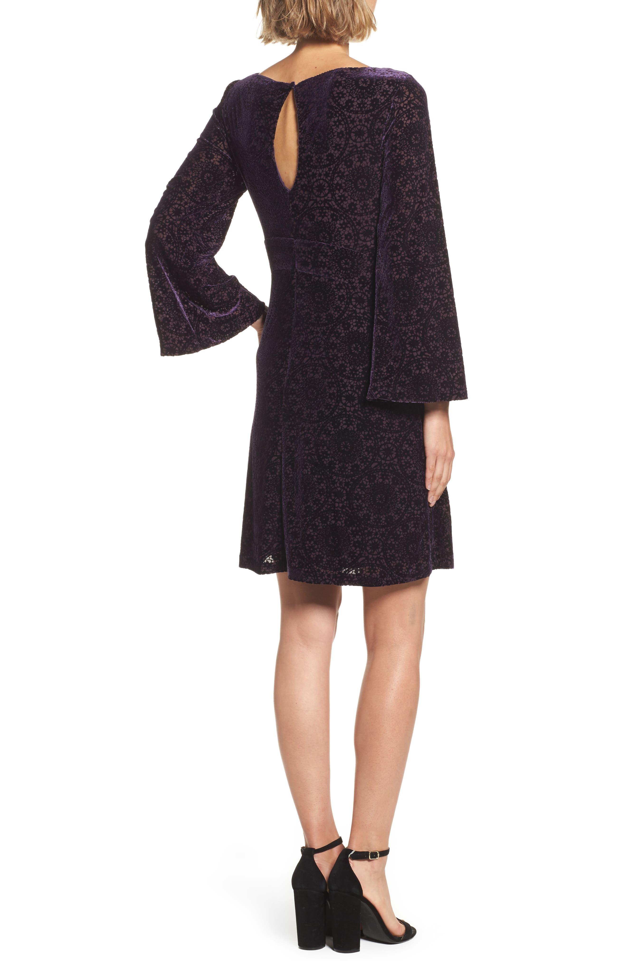 Alternate Image 2  - Adrianna Papell Velvet Burnout Bell Sleeve Dress