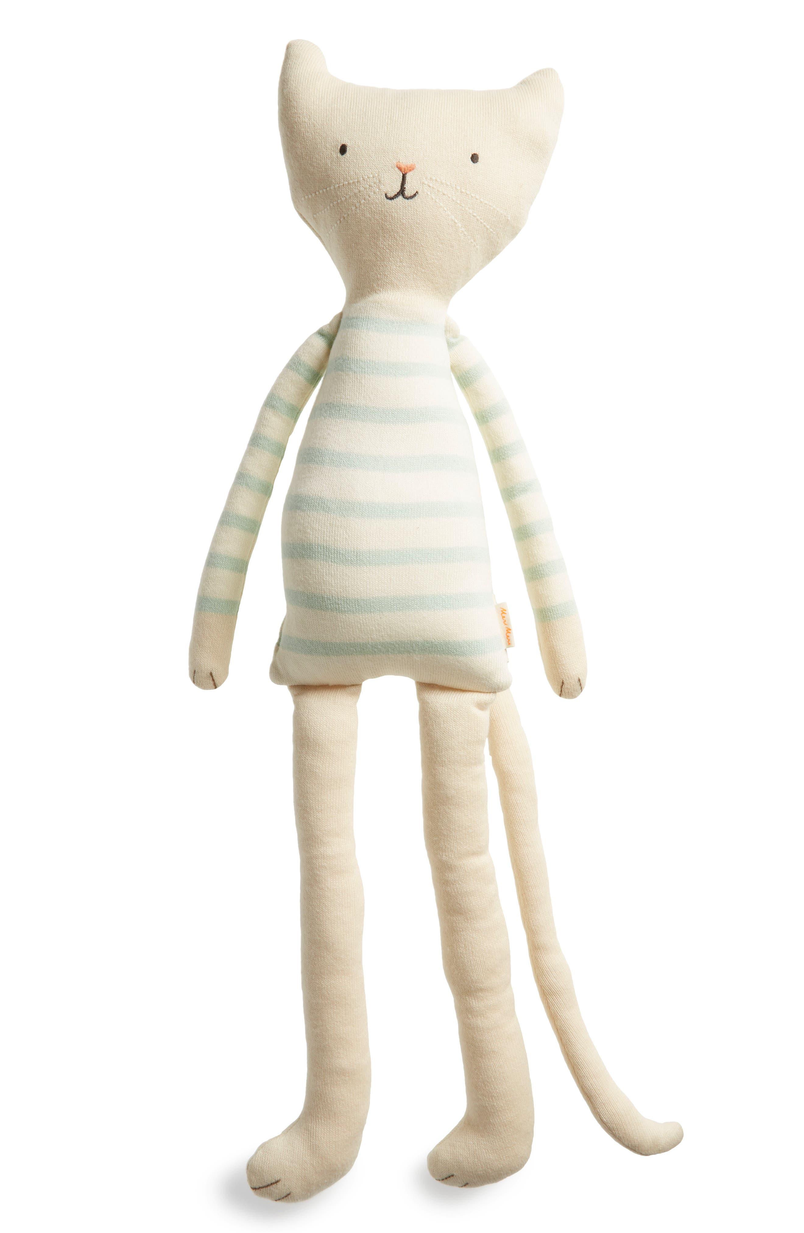 Knit Organic Cotton Cat Cushion/Toy,                             Main thumbnail 1, color,                             Blue Multi