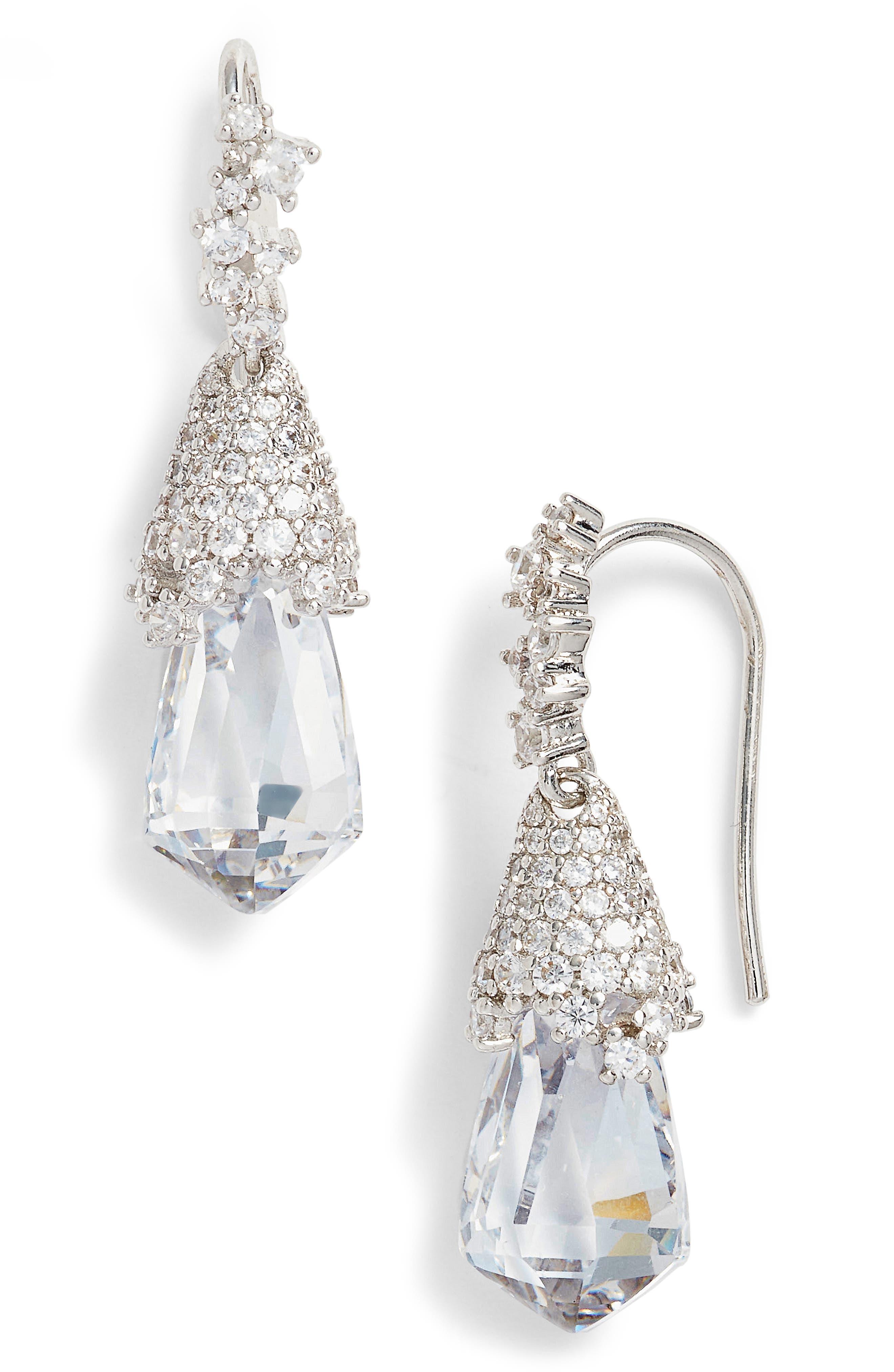 Becky Teardrop Earrings,                             Main thumbnail 1, color,                             Silver