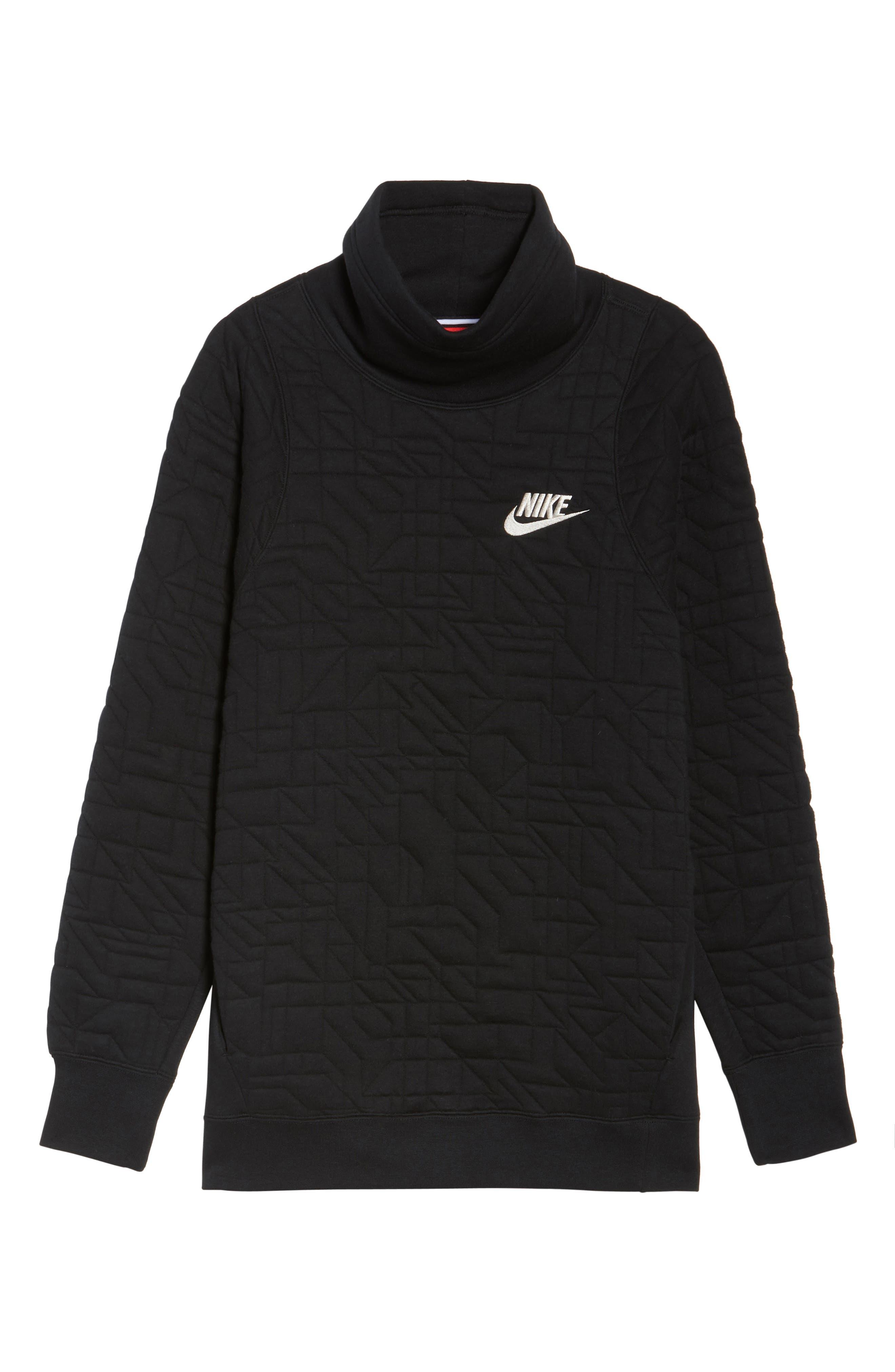 Sportswear Quilted Funnel Neck Pullover,                             Alternate thumbnail 7, color,                             Black/ Light Bone