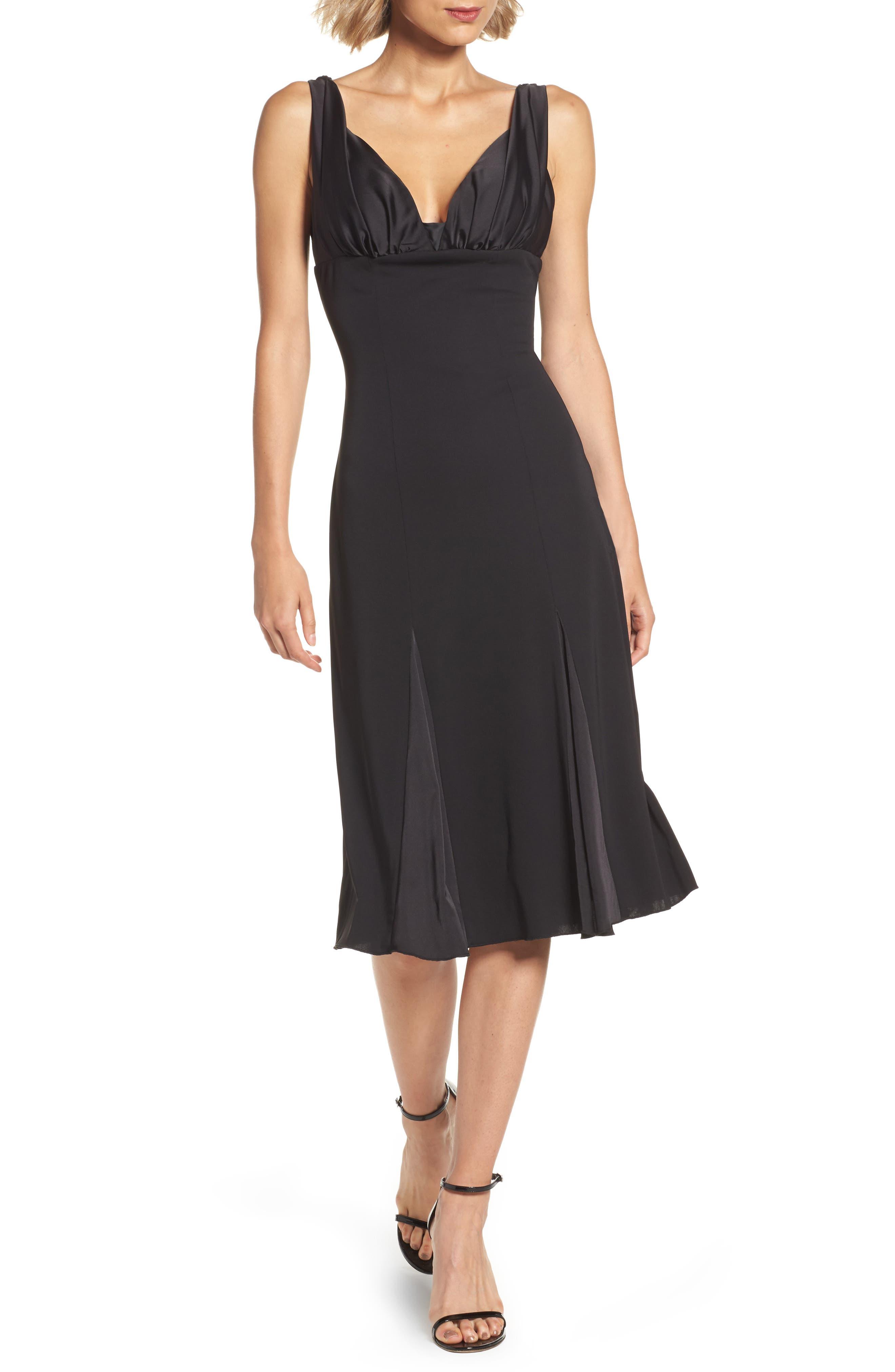 Jersey & Satin Dress,                         Main,                         color, Black