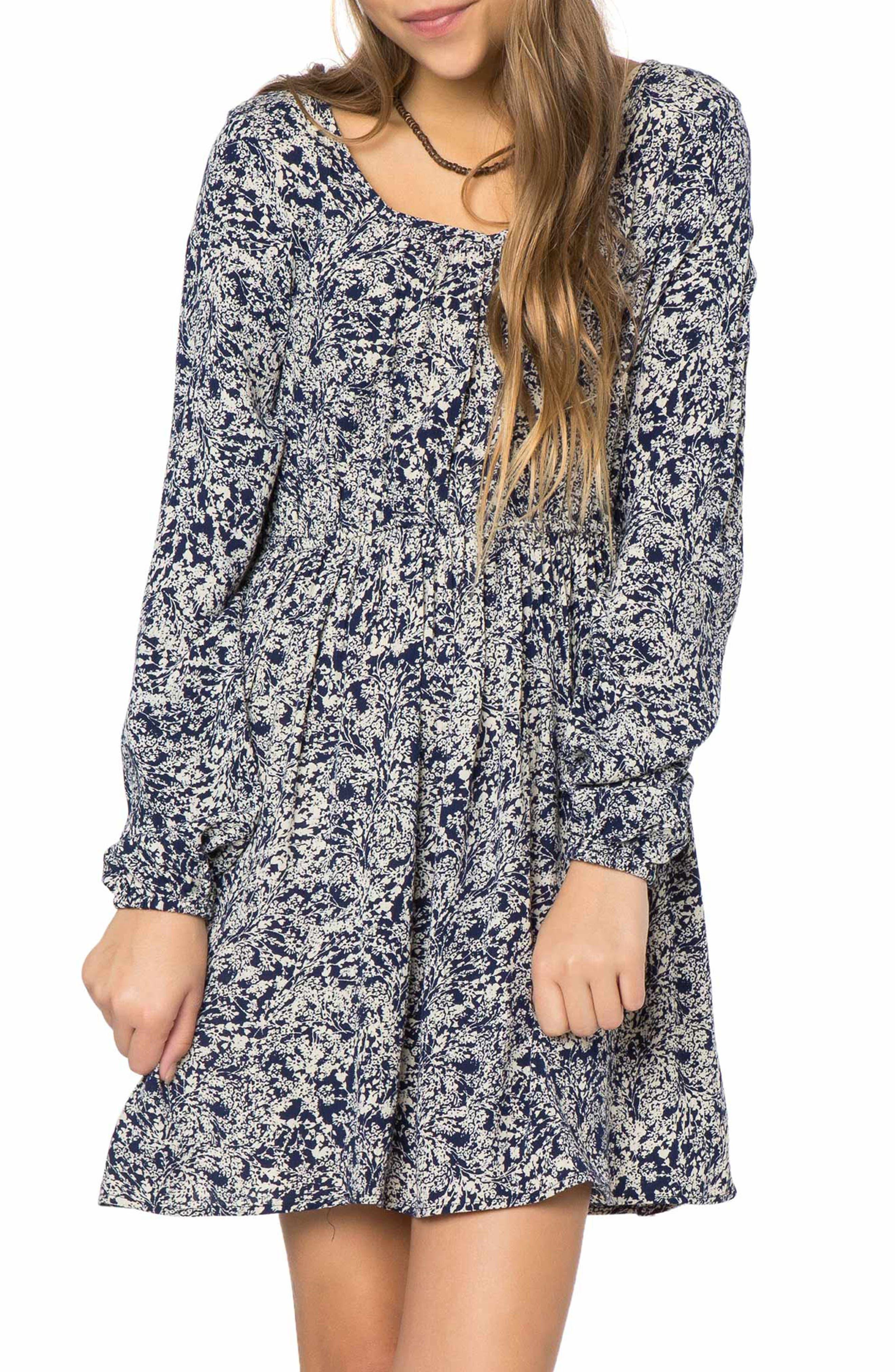 Rhianna Print Dress,                         Main,                         color, Medieval Blue