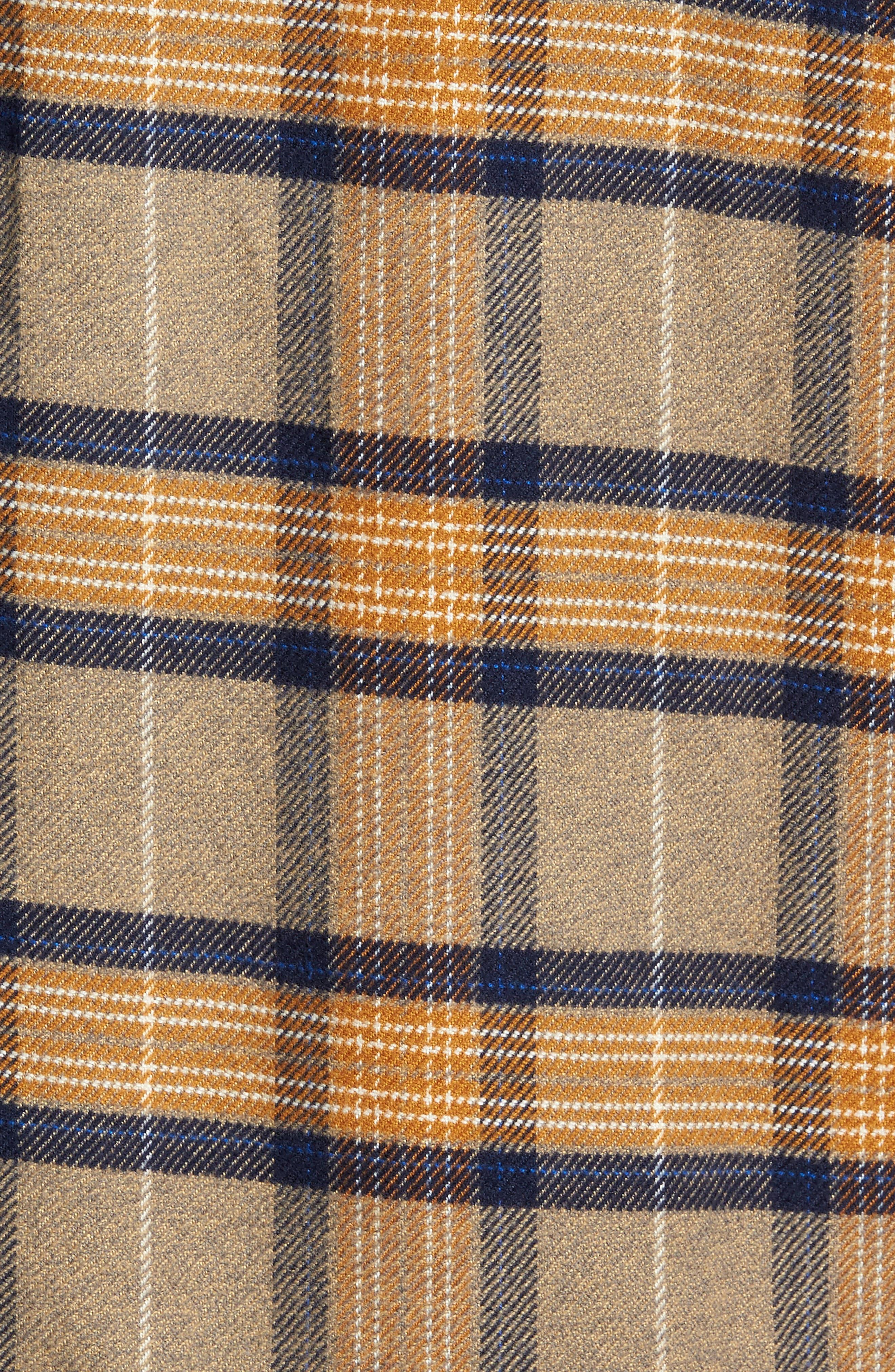 'Fjord' Regular Fit Organic Cotton Flannel Shirt,                             Alternate thumbnail 5, color,                             Migration Plaid Mojave Khaki