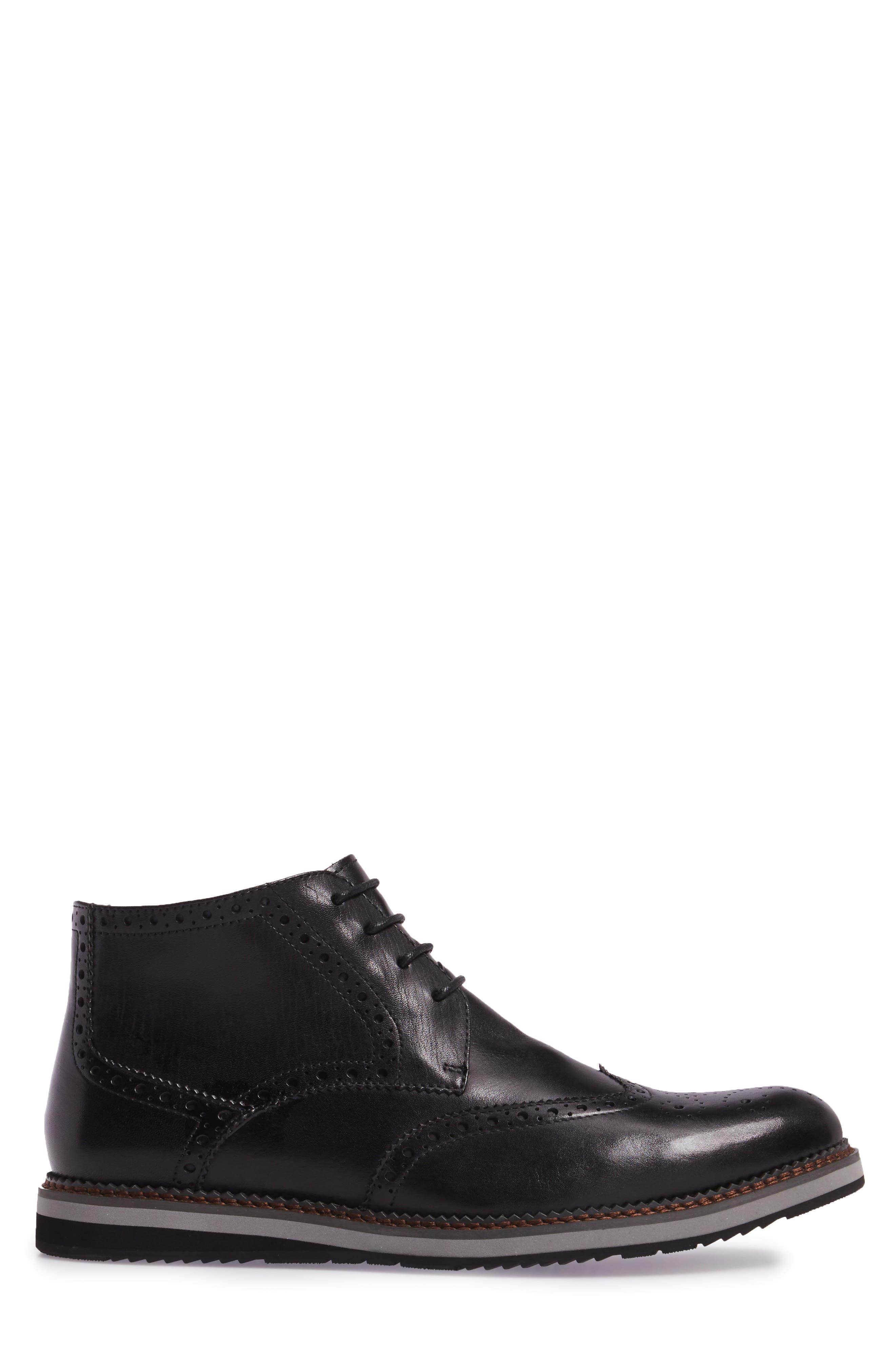 Ascot Wingtip Boot,                             Alternate thumbnail 3, color,                             Black Leather