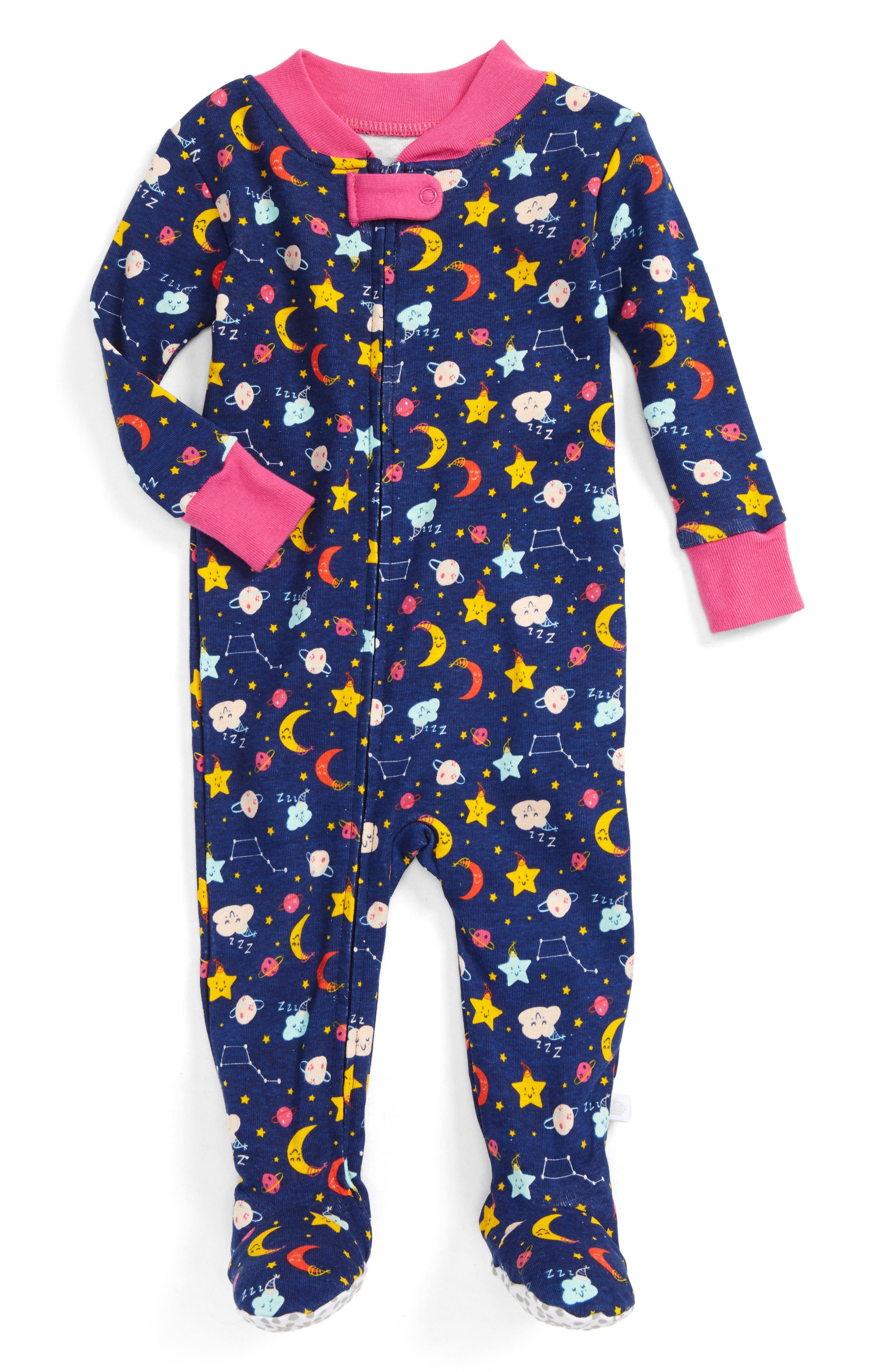 Galaxy Fitted One-Piece Pajamas,                         Main,                         color, Navy