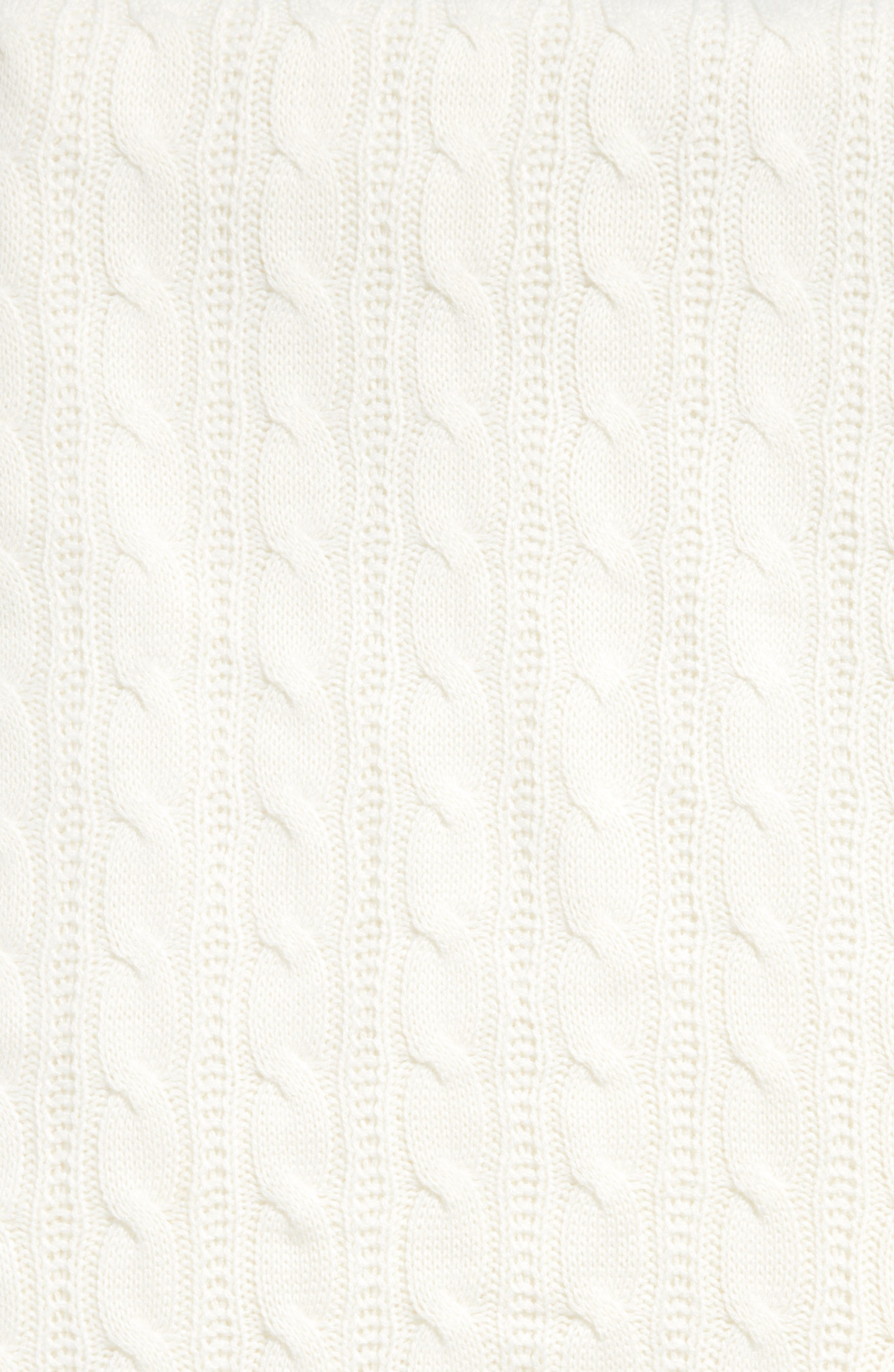 Cable Knit Throw Blanket,                             Alternate thumbnail 2, color,                             Ivory