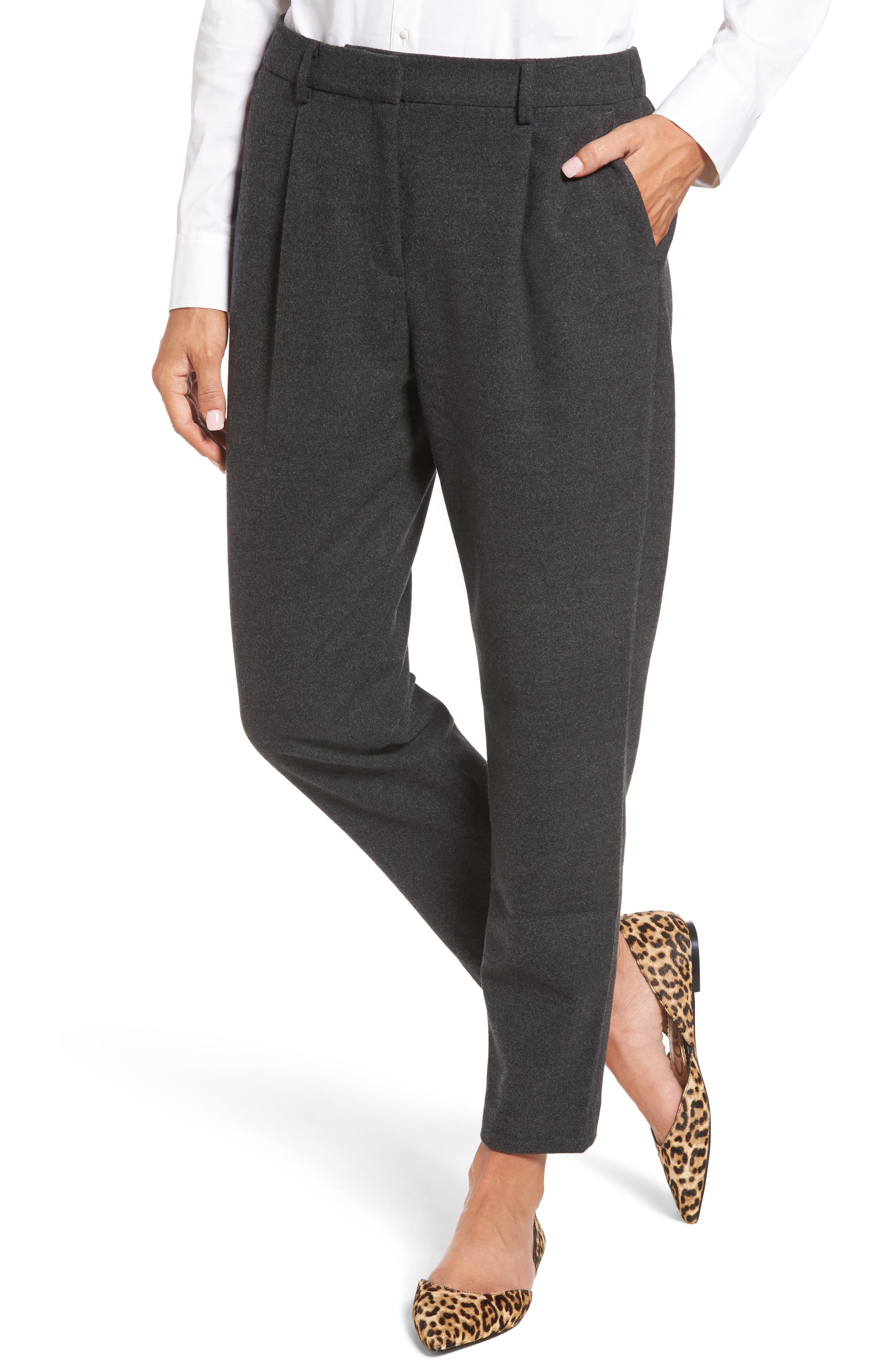 Relaxed Ankle Pants,                             Main thumbnail 1, color,                             Heather Grey