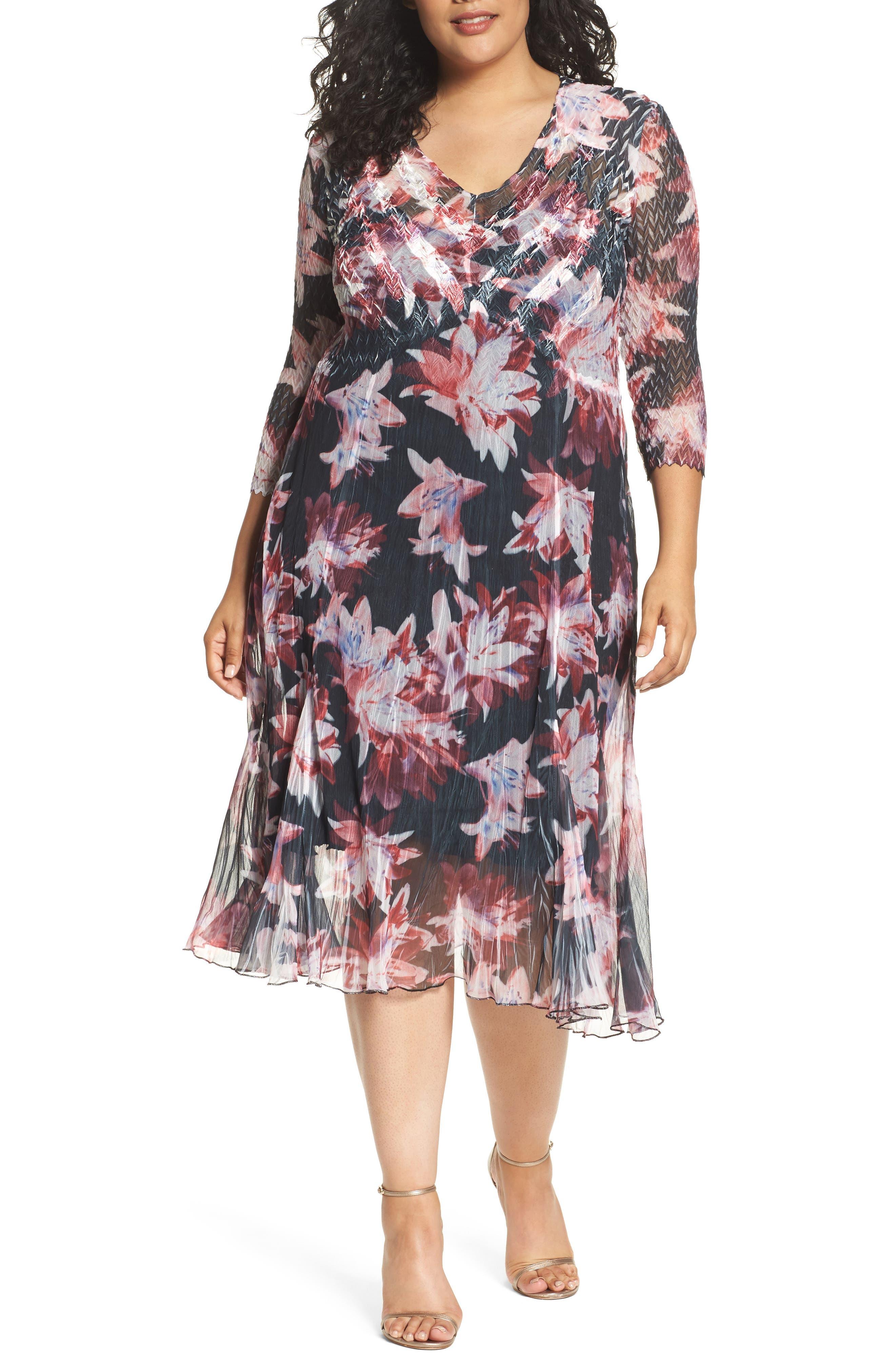 Main Image - Komarov Chiffon & Charmeuse A-Line Dress (Plus Size)
