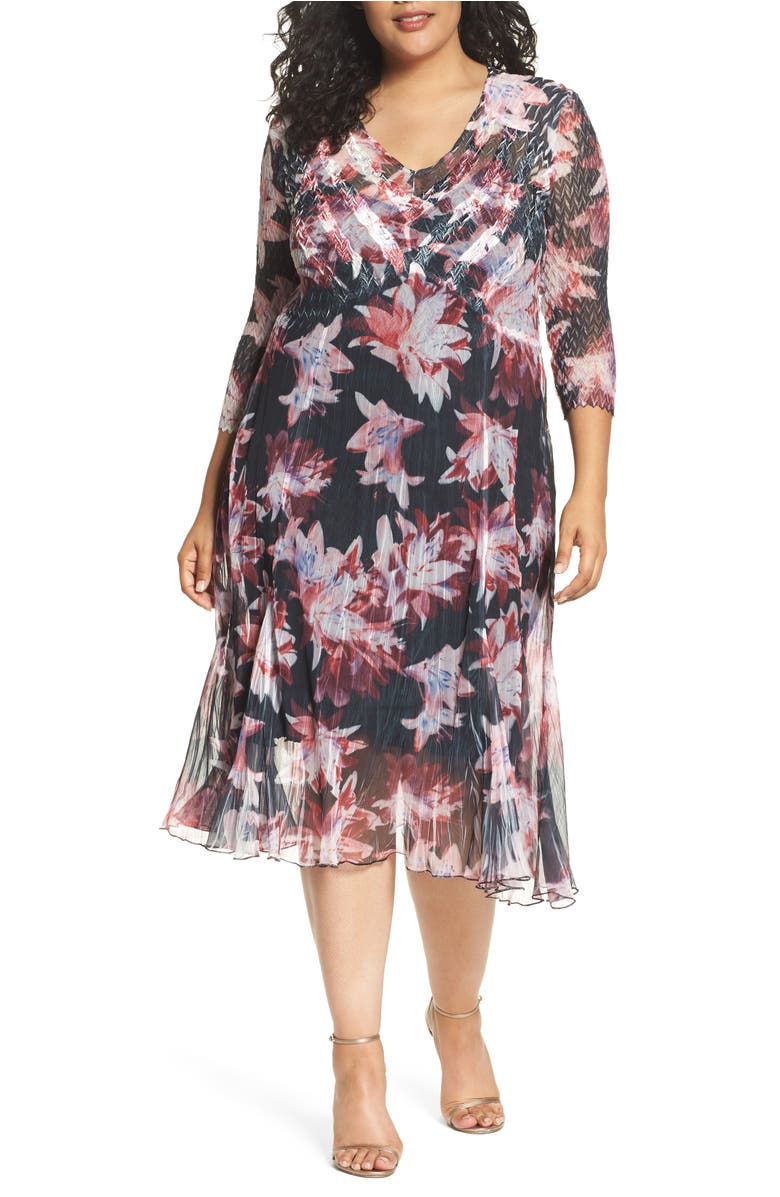 Chiffon & Charmeuse A-Line Dress,                         Main,                         color, Scarlet Night