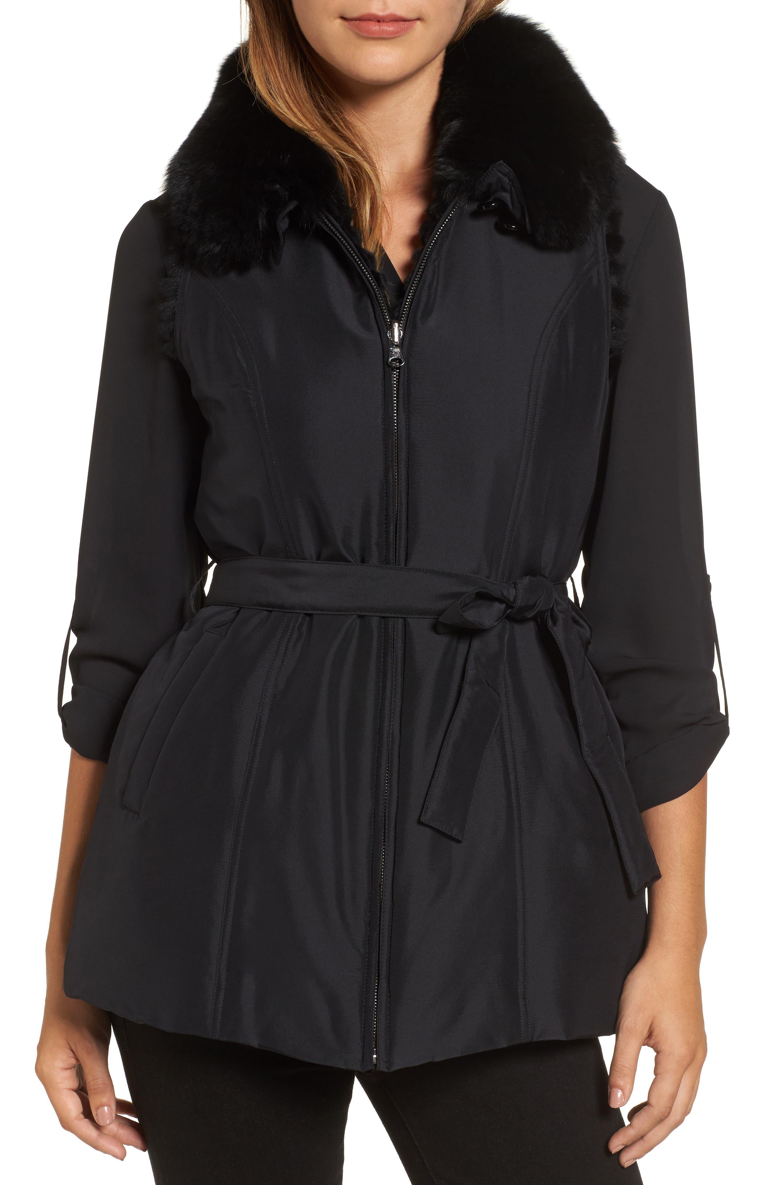 George Simonton Couture Reversible Silk Vest with Genuine Rabbit Fur & Genuine Fox Fur