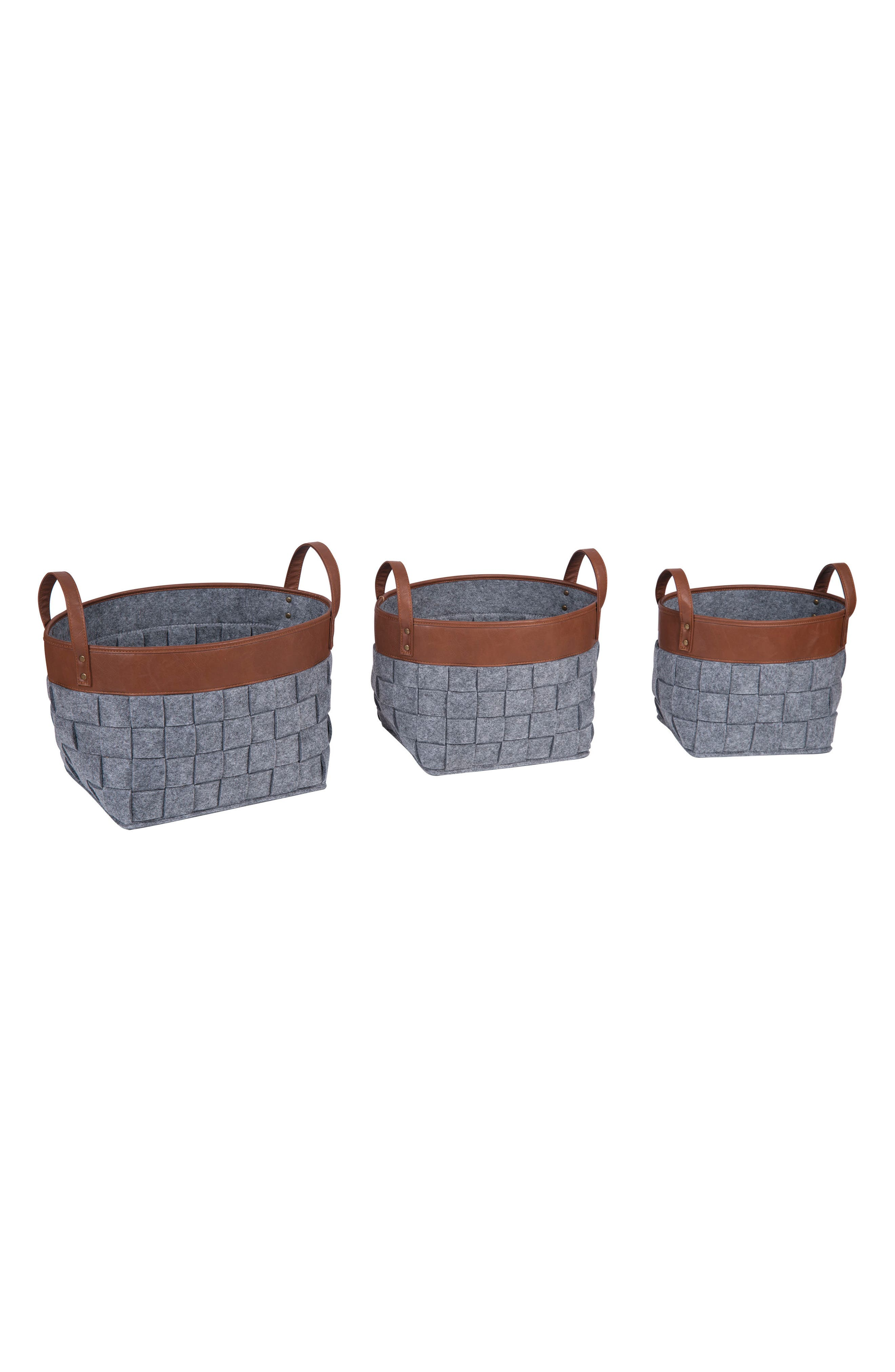 Foreside Set of 3 Woven Nesting Baskets